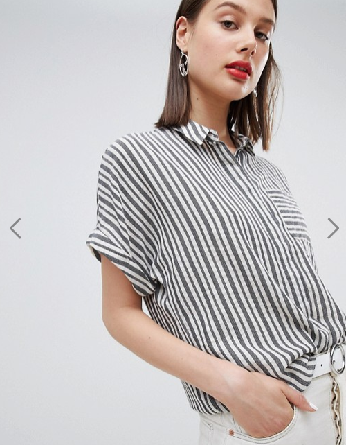 Esprit- Striped Oversized Short Sleeve Blouse