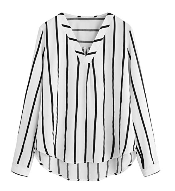 Amazon Floerns- Striped Chiffon Blouse