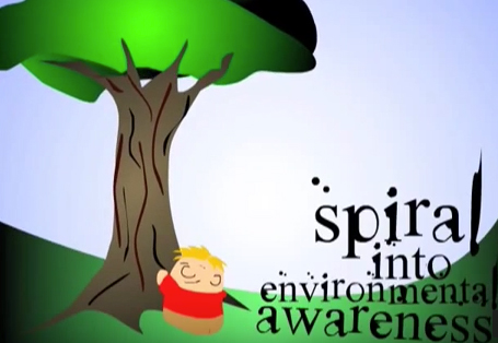 Phil Perkins' Spiral into Environmental Awareness  - animated shorts, 2008  Emily created these animated shorts using Adobe Illustrator and Photoshop (art), Flash (animation), and Audacity (sound).