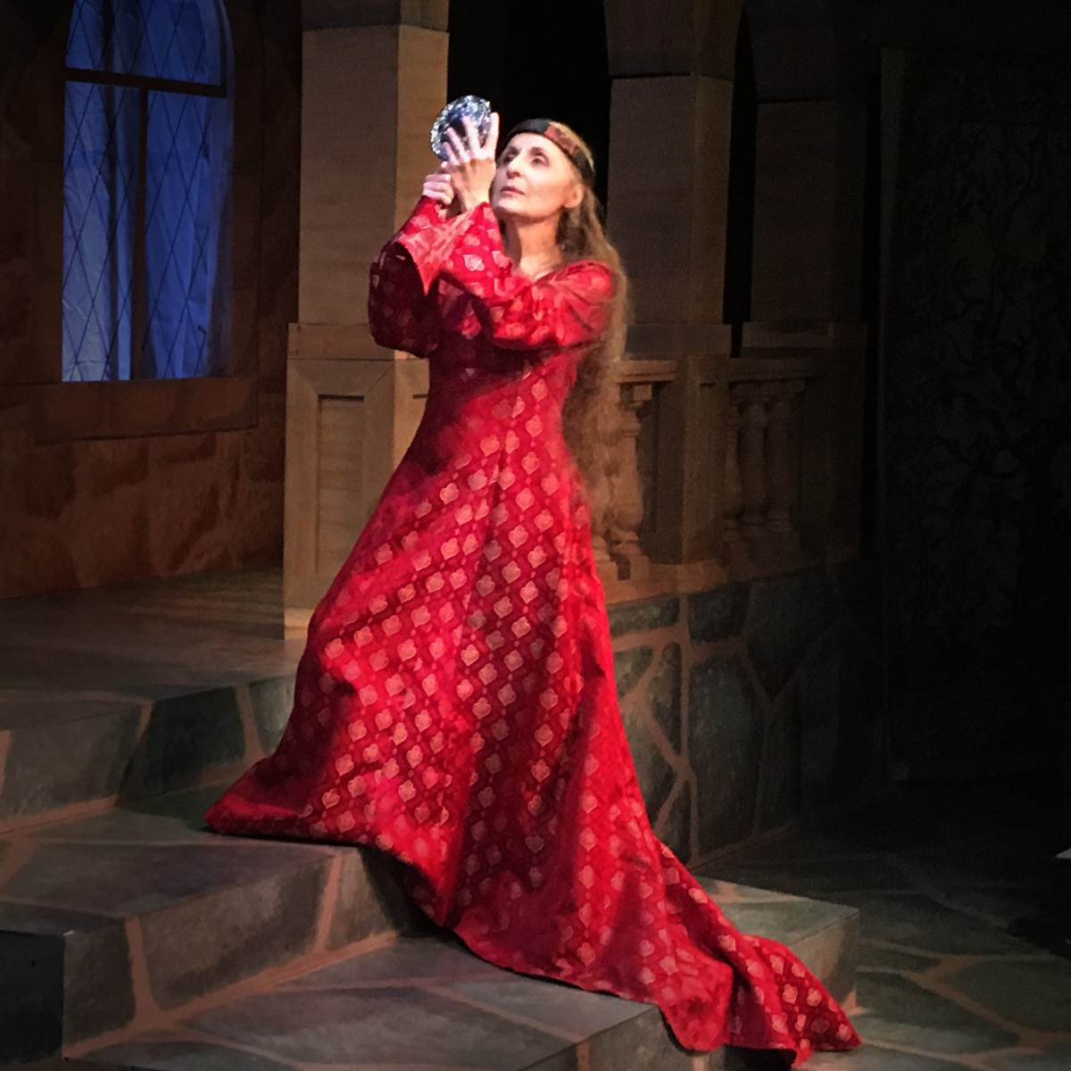 "Lion in Winter is playing through December 10. Here, Eleanor of Aquitaine summons the courage to look in her mirror: ""My, what a lovely girl. How could her king have left her."" Fun fact: Ricki G. Ravitts (Eleanor) is a direct descendent of the queen she portrays."