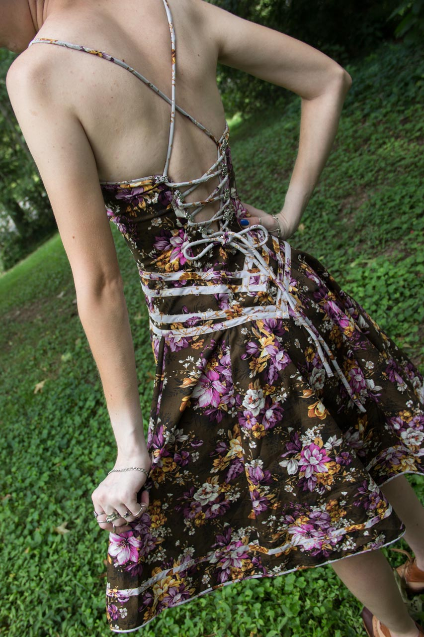 back of lace up floral hand sewn dress