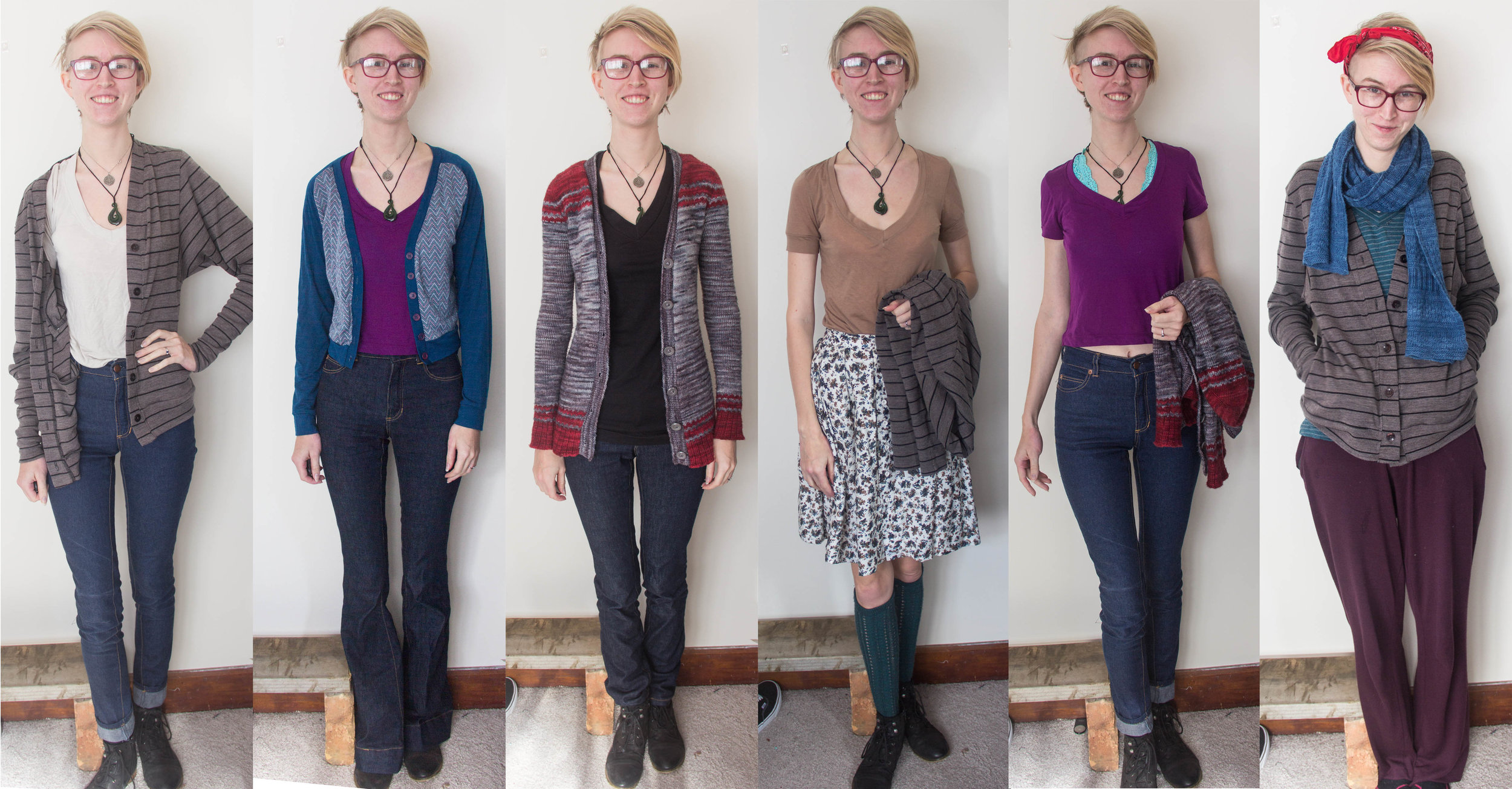 Lots of Ginger Jeans again this week, and a sneak peek on Tuesday of next week's cardigan blog post! Plus, the purple cropped tee I made on Monday night to go with said cardigan. Note also the house clothes on Saturday: not only 100% me-made, but also 100% Merino!