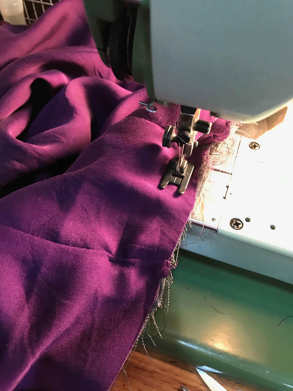 staystiching the pencil skirt waistline