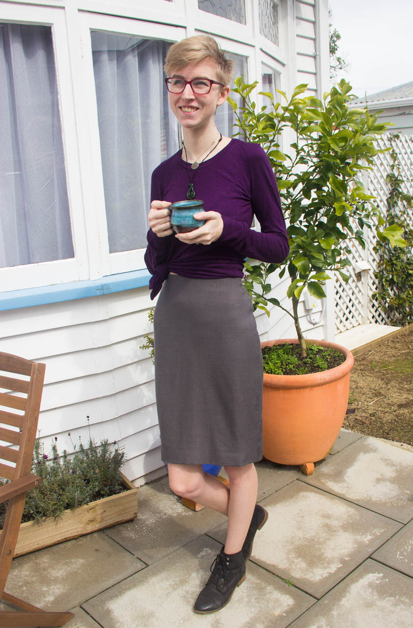 finished self drafted pencil skirt