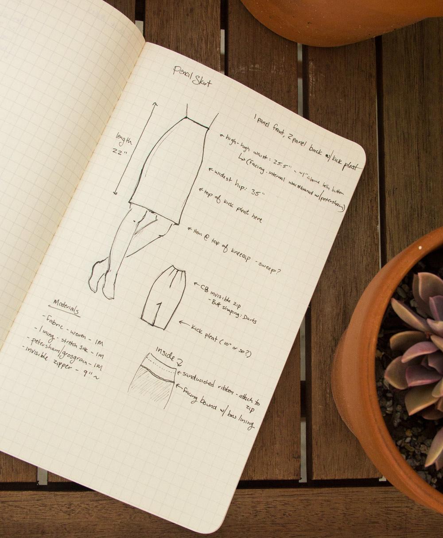 pencil skirt draft sketch plan
