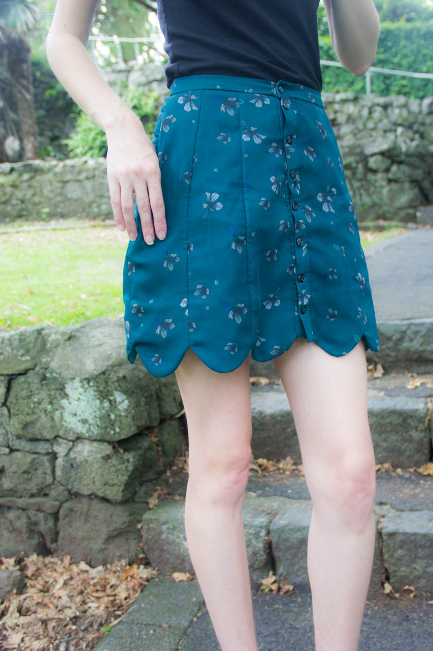 scalloped skirt button front