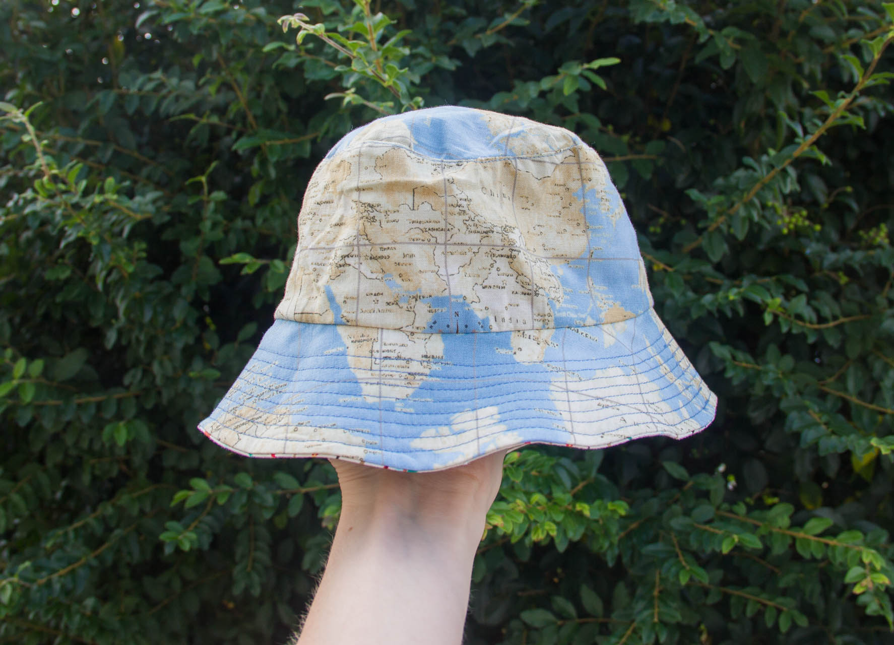 reversible baby bucket hat map fabric