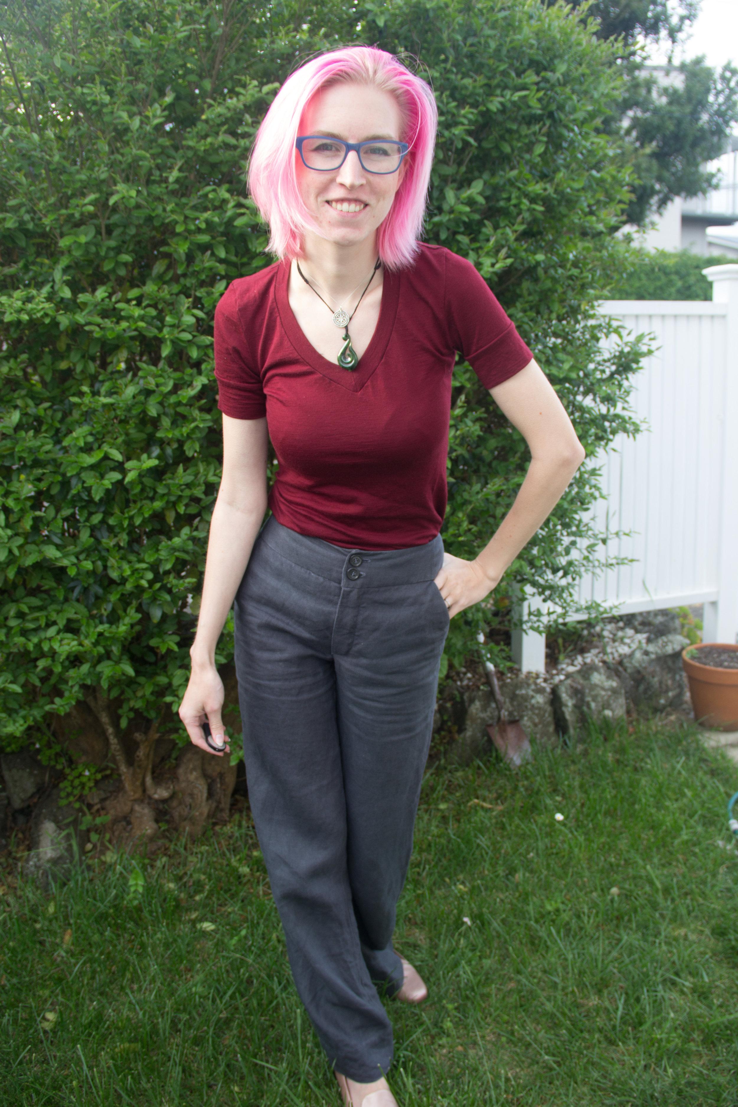 grey linen handmade pants