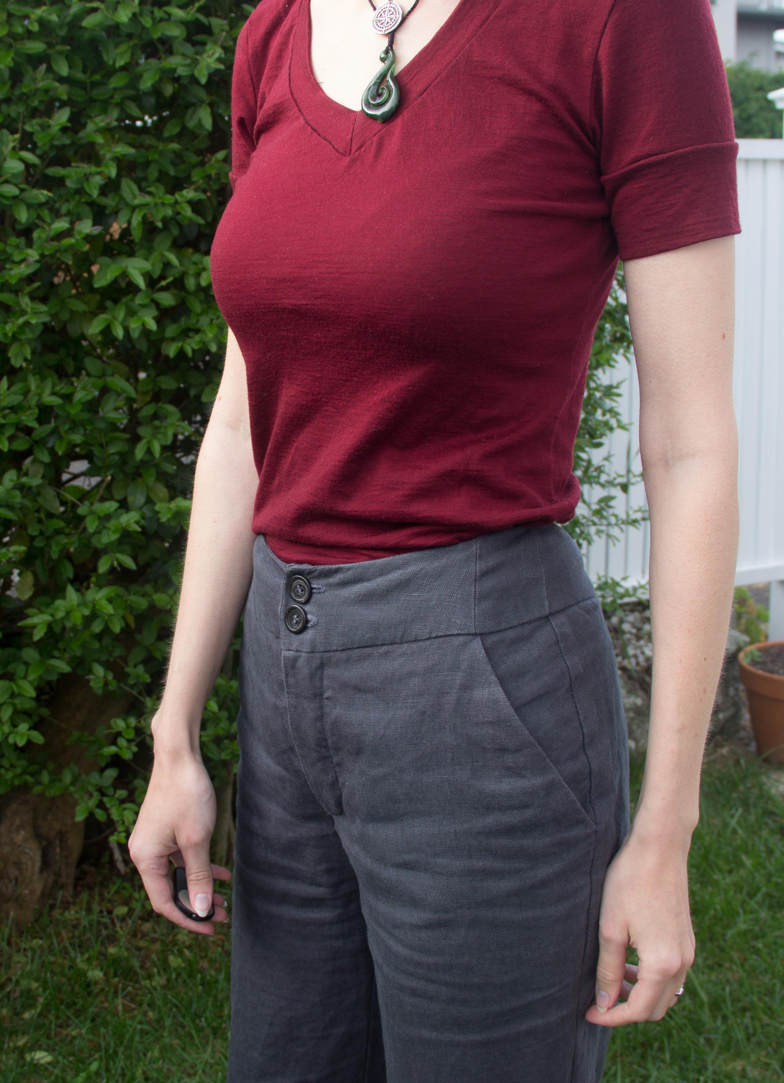 waistband detail of handmade pants