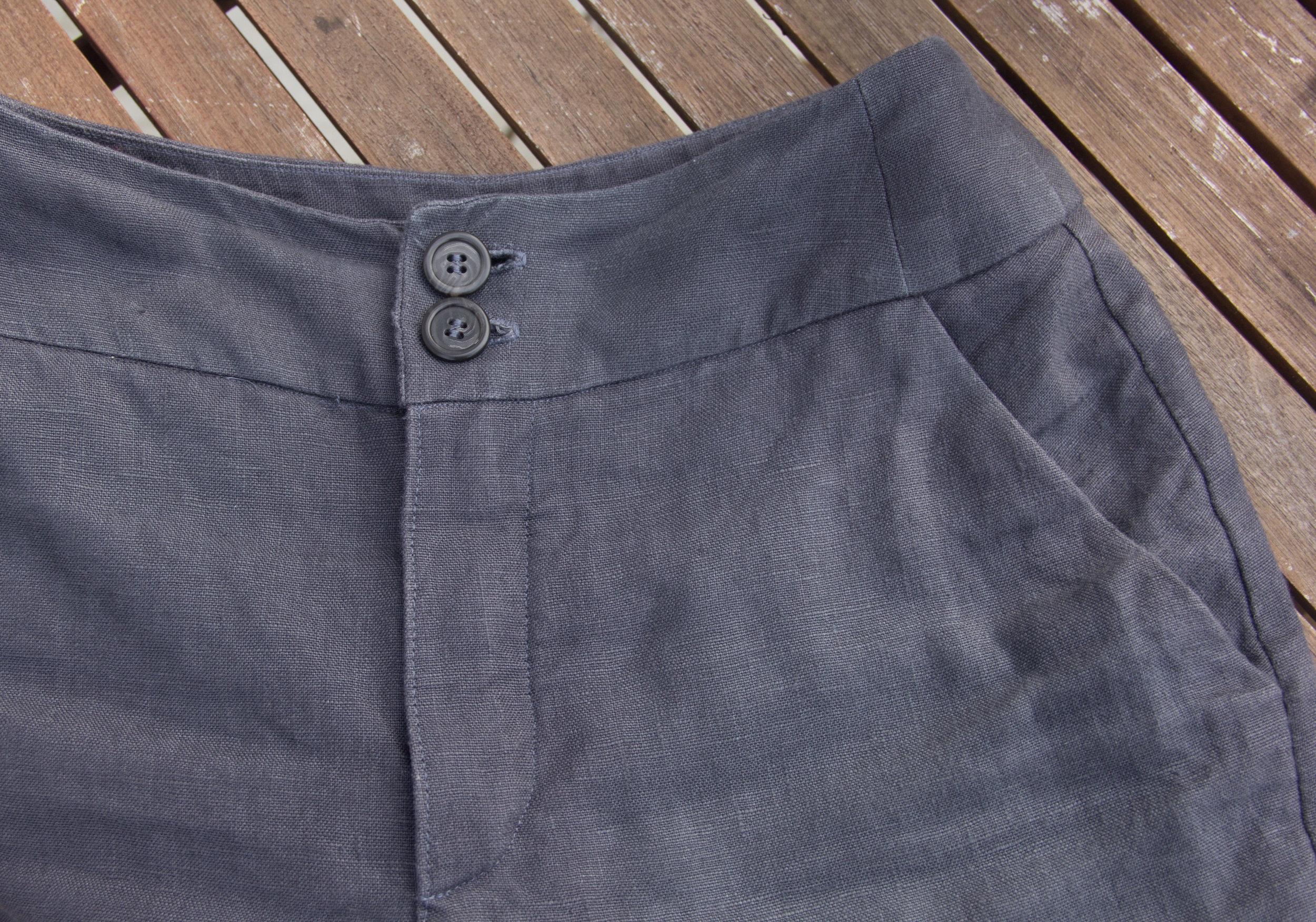 flatlay linen pants pocket detail