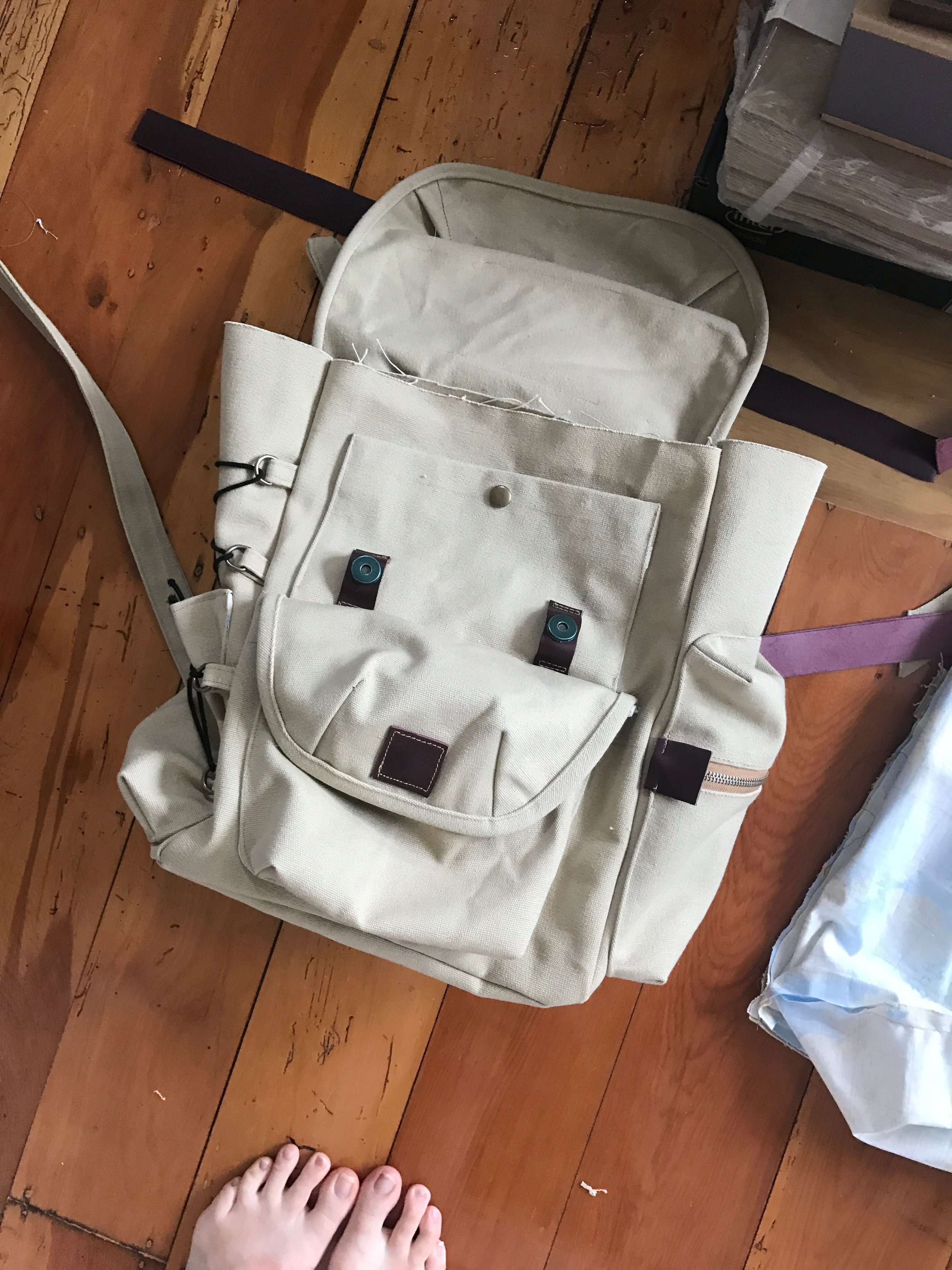 in progress handmade canvas backpack