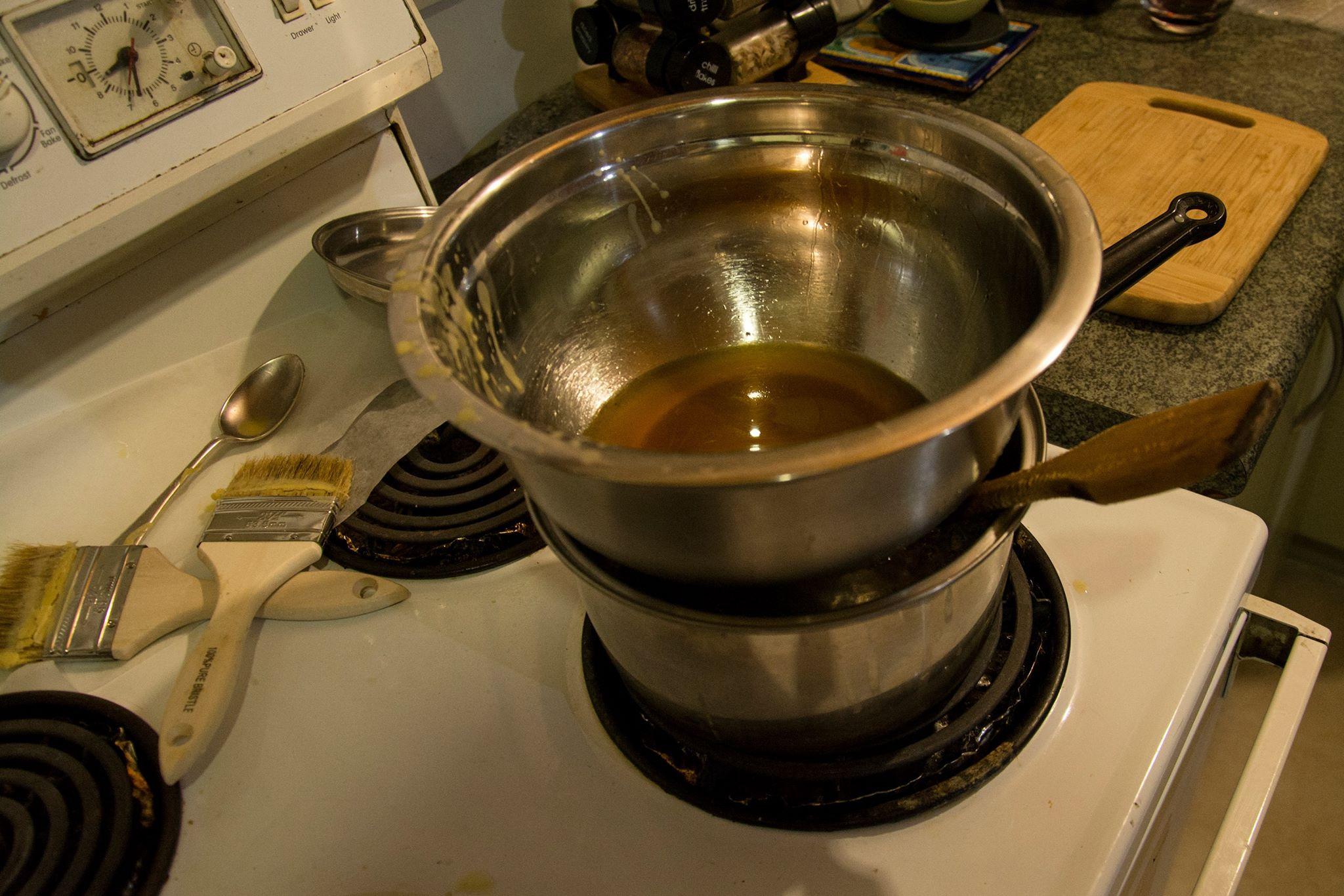 beeswax wraps melting pot