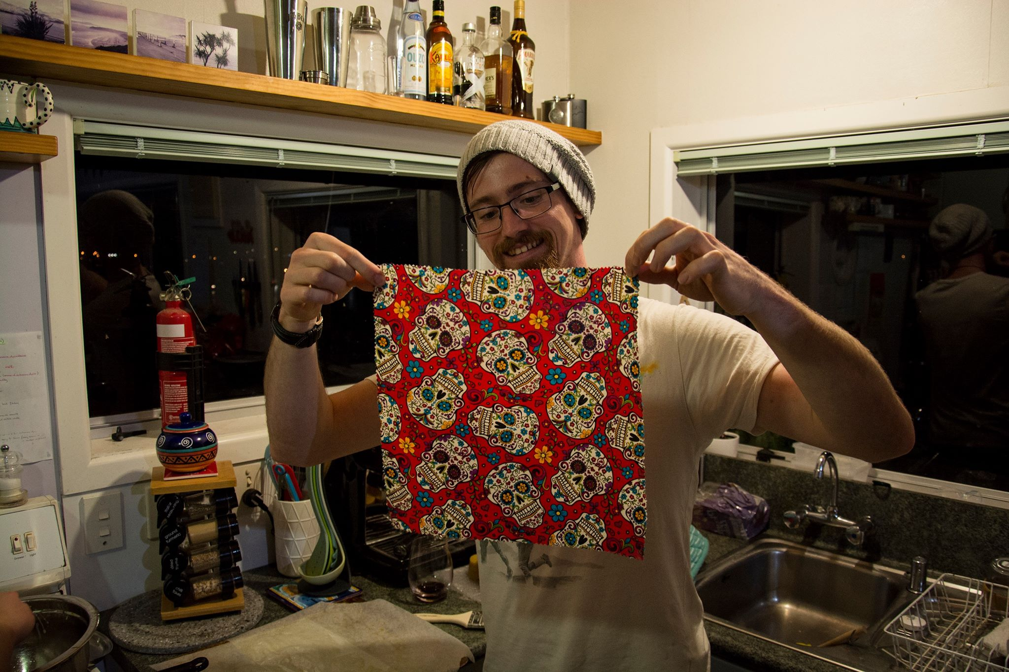 Look at how excited Jon is about his sugar skulls! Also, note the fire extinguisher to the left - in case you thought I was kidding!