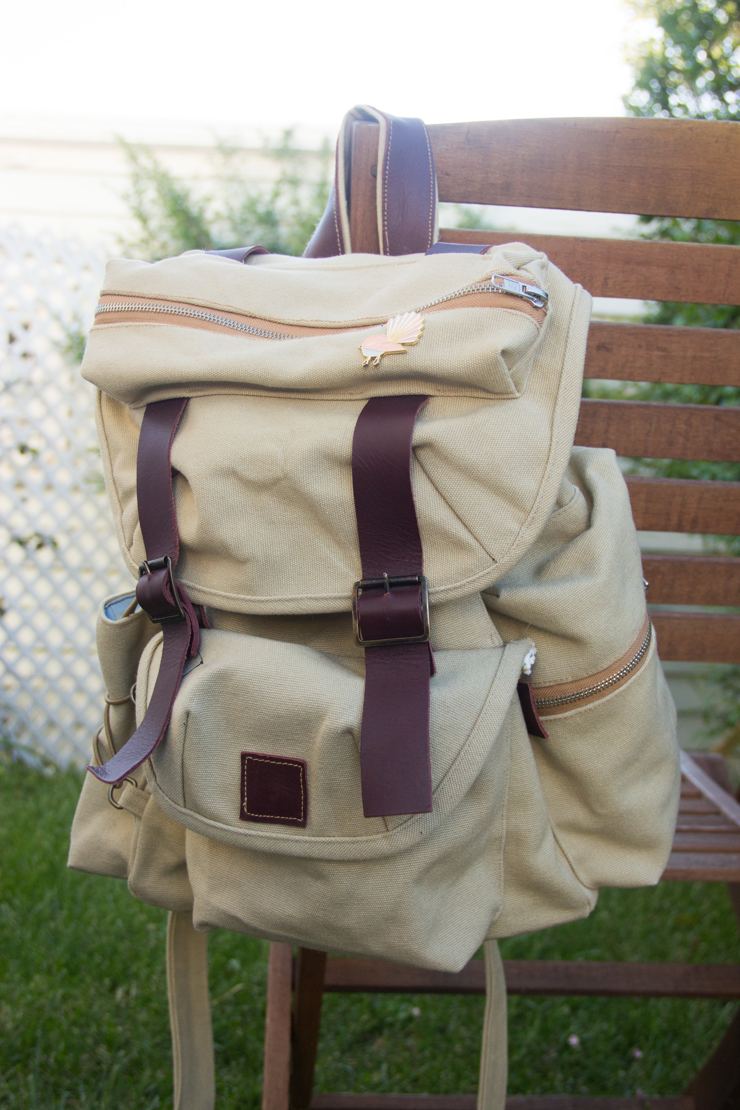 canvas and leather handmade backpack