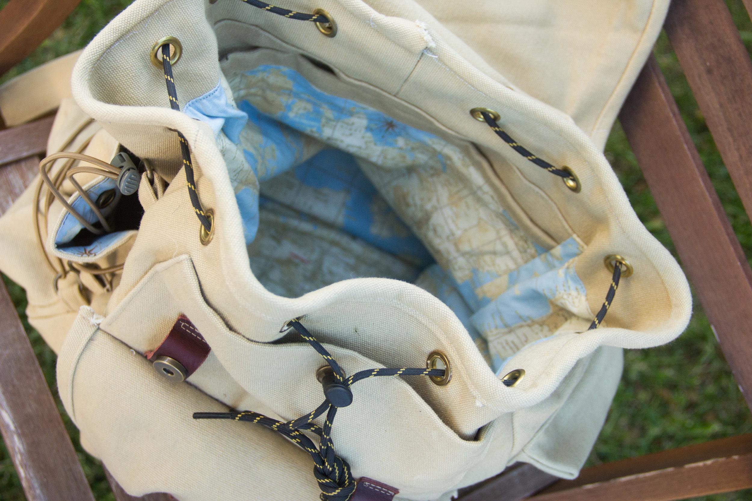 inside of canvas backpack