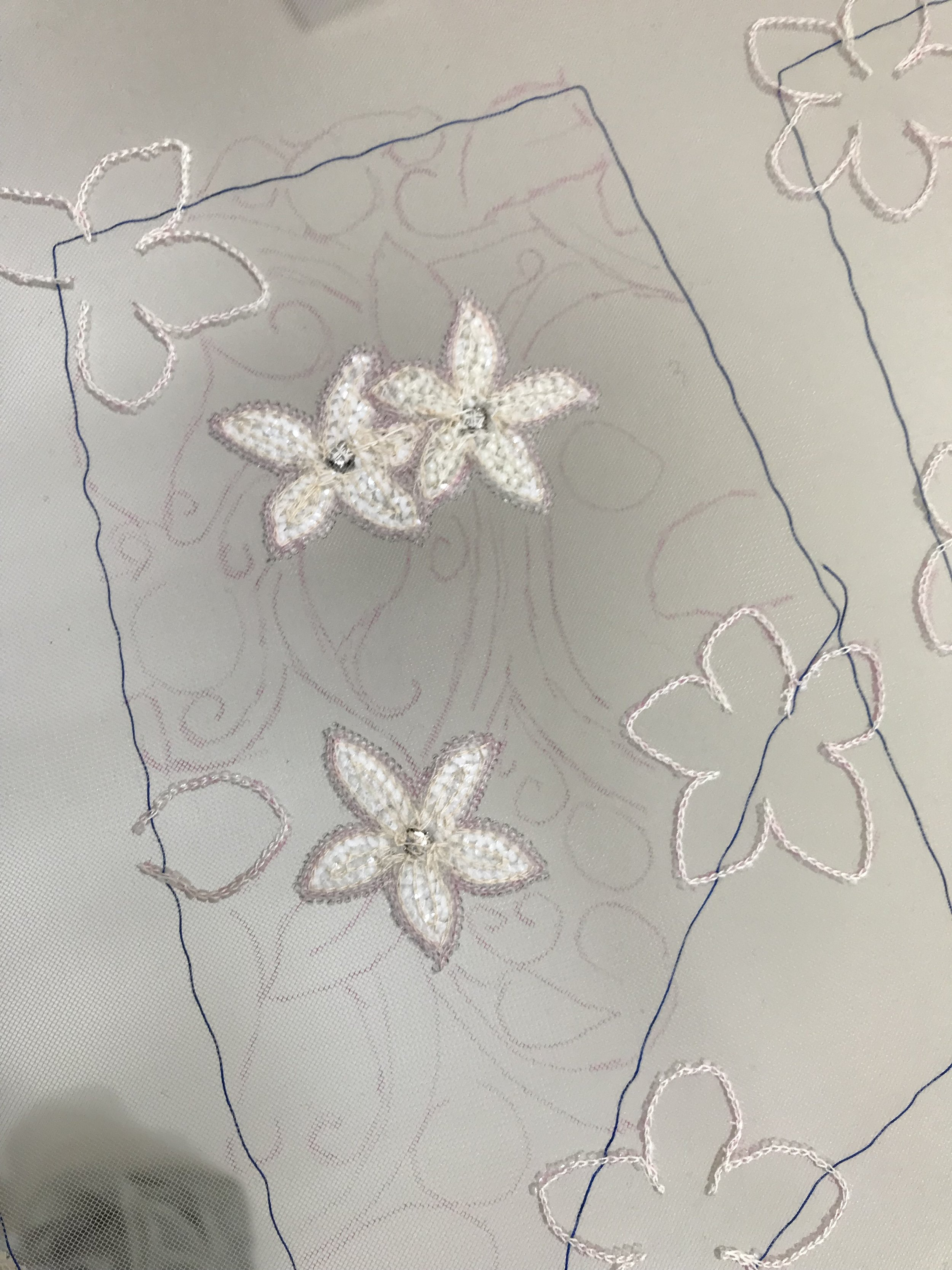 tracing with sequin flowers