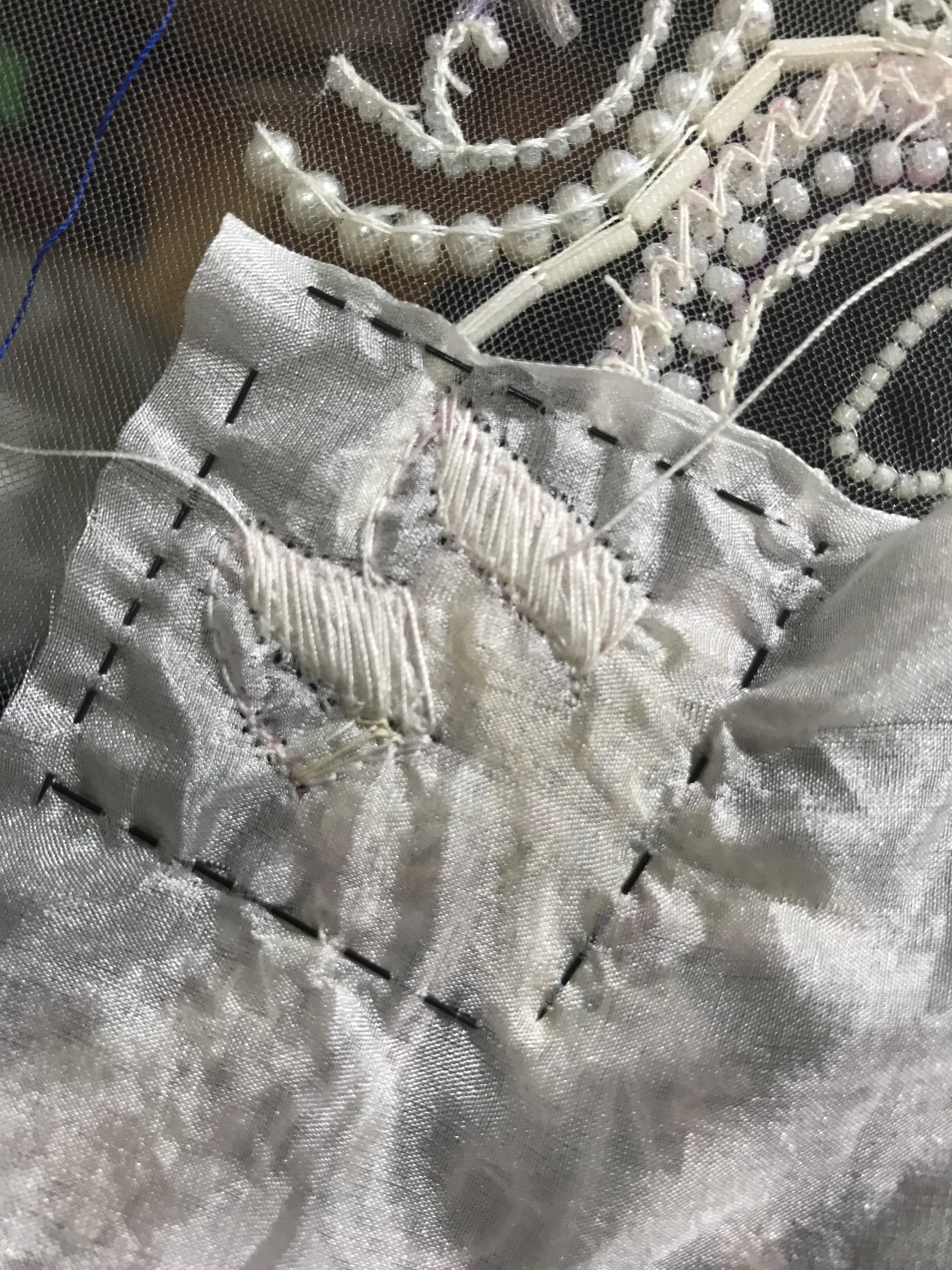 stabilizing embroidery with silk habotai