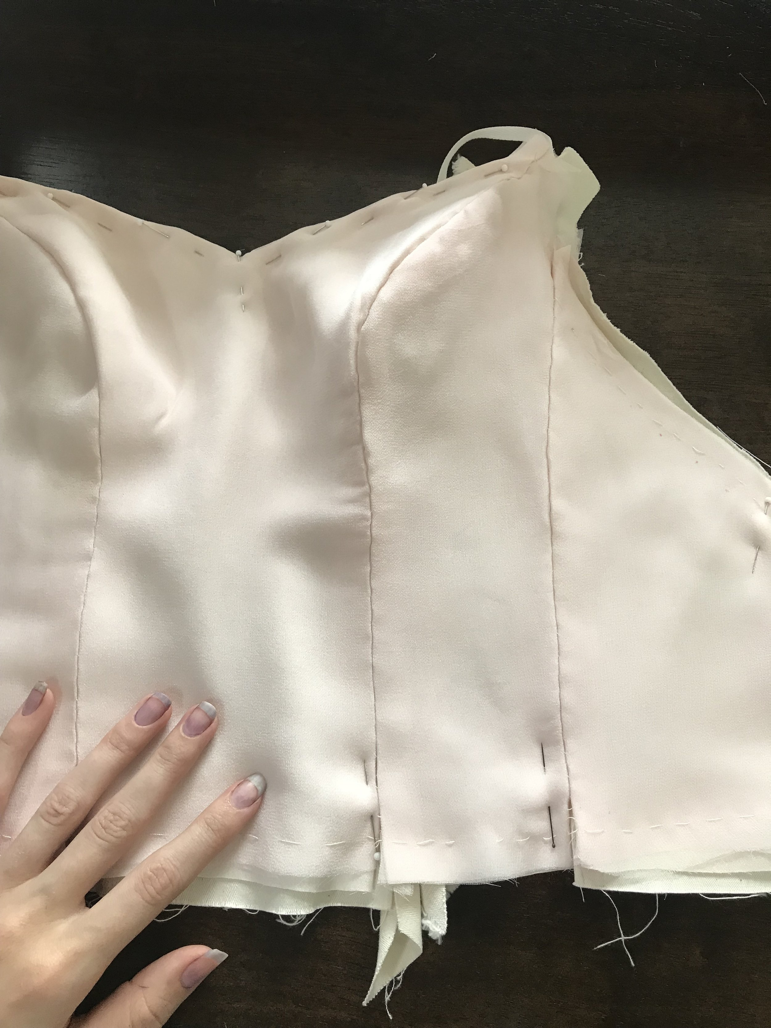 completed basted wedding dress bodice
