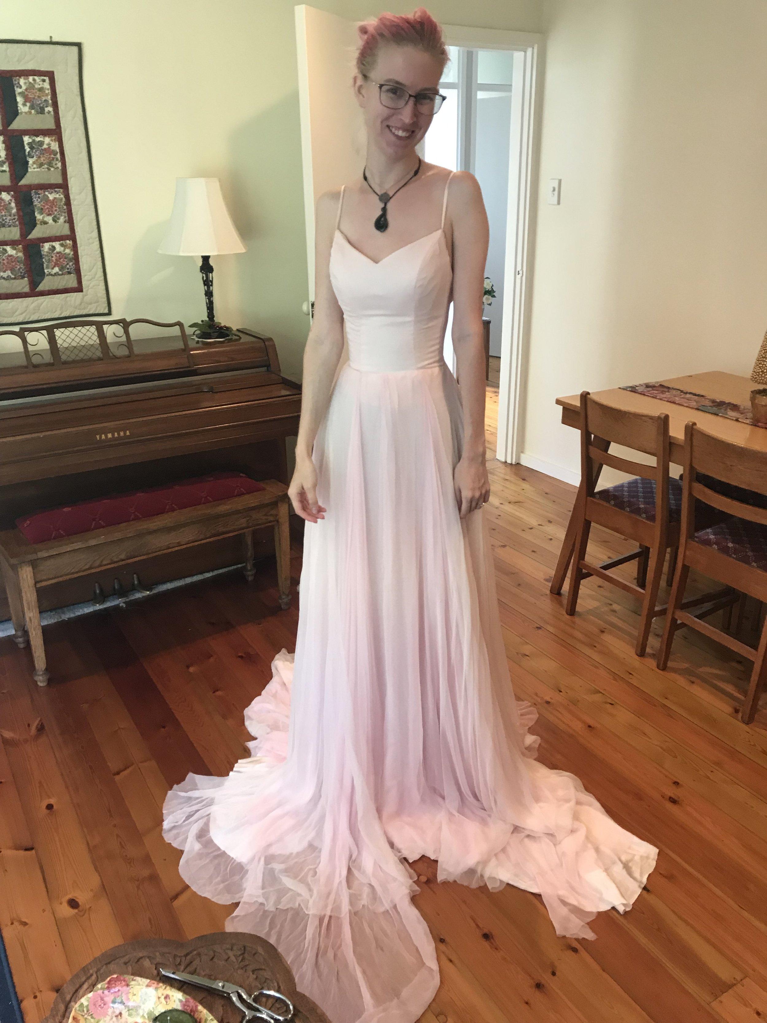 first try on of handmade wedding dress
