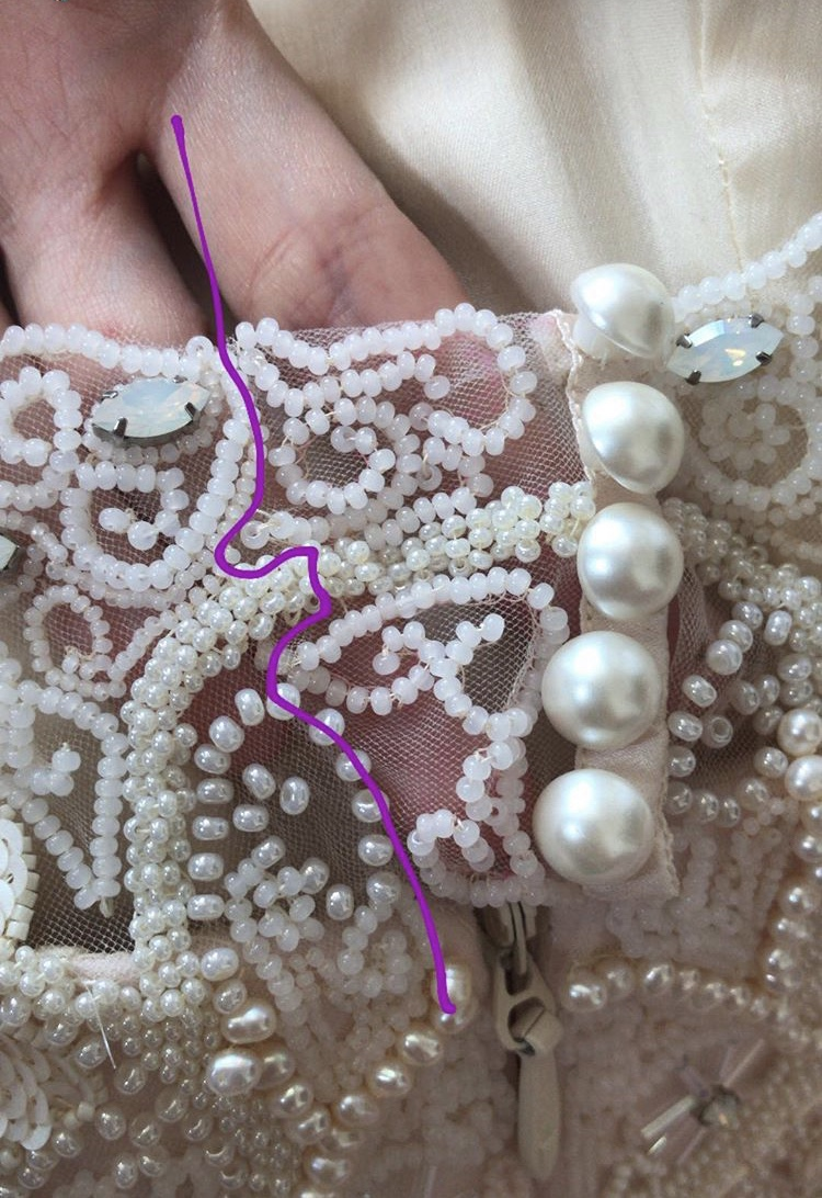 beaded addition to back dress