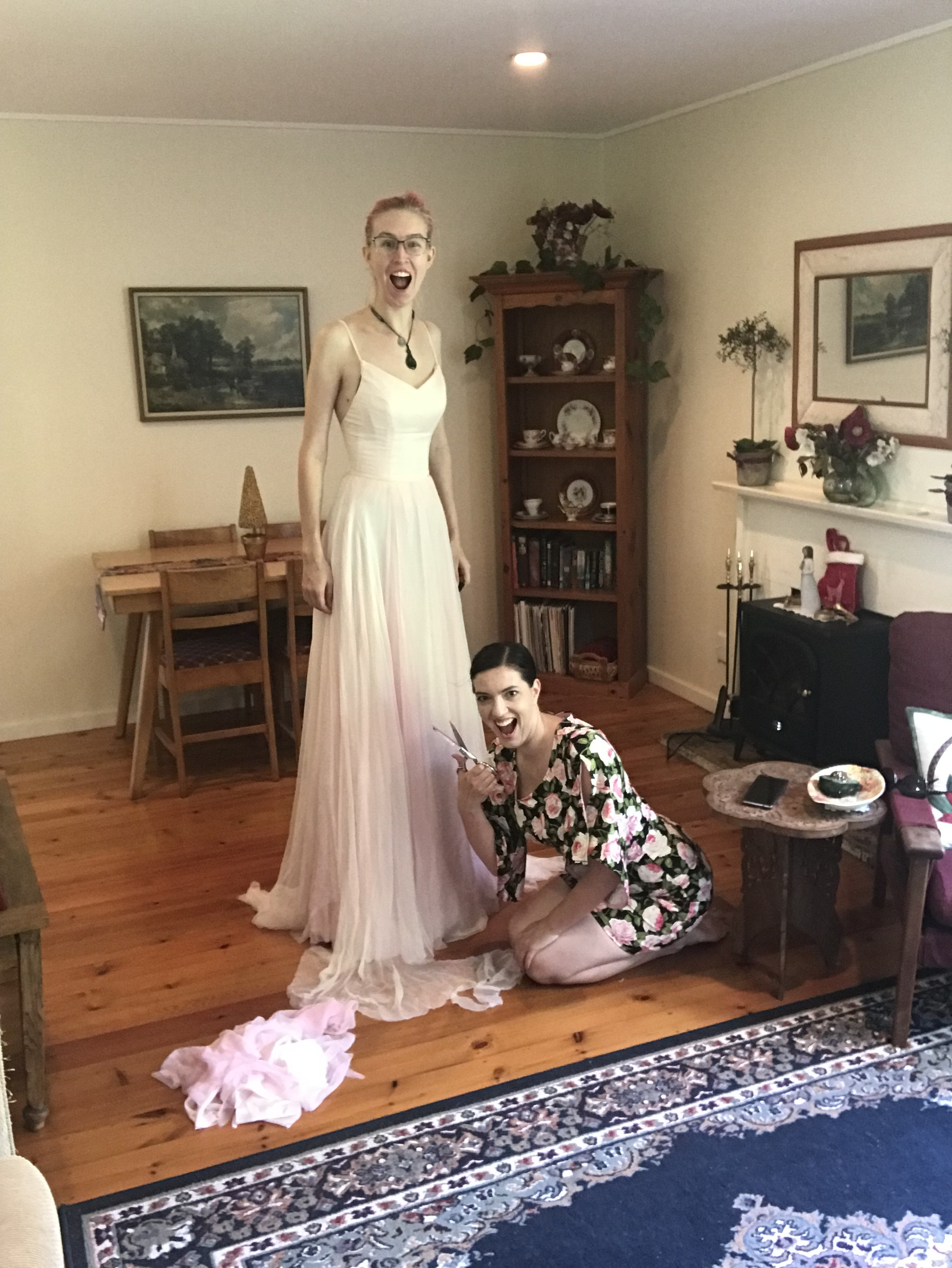 trimming wedding dress hem