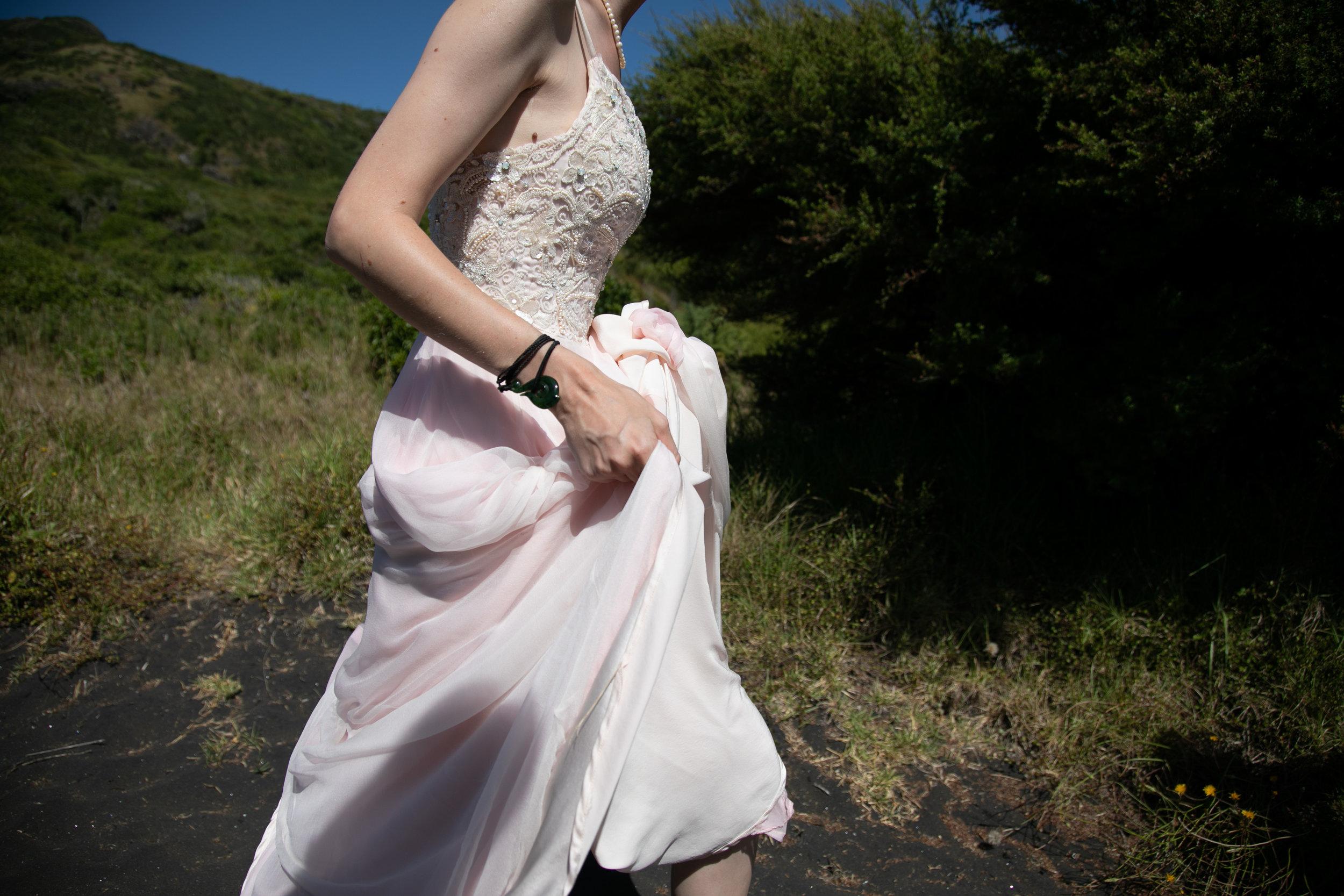 detail hand sewn silk wedding dress