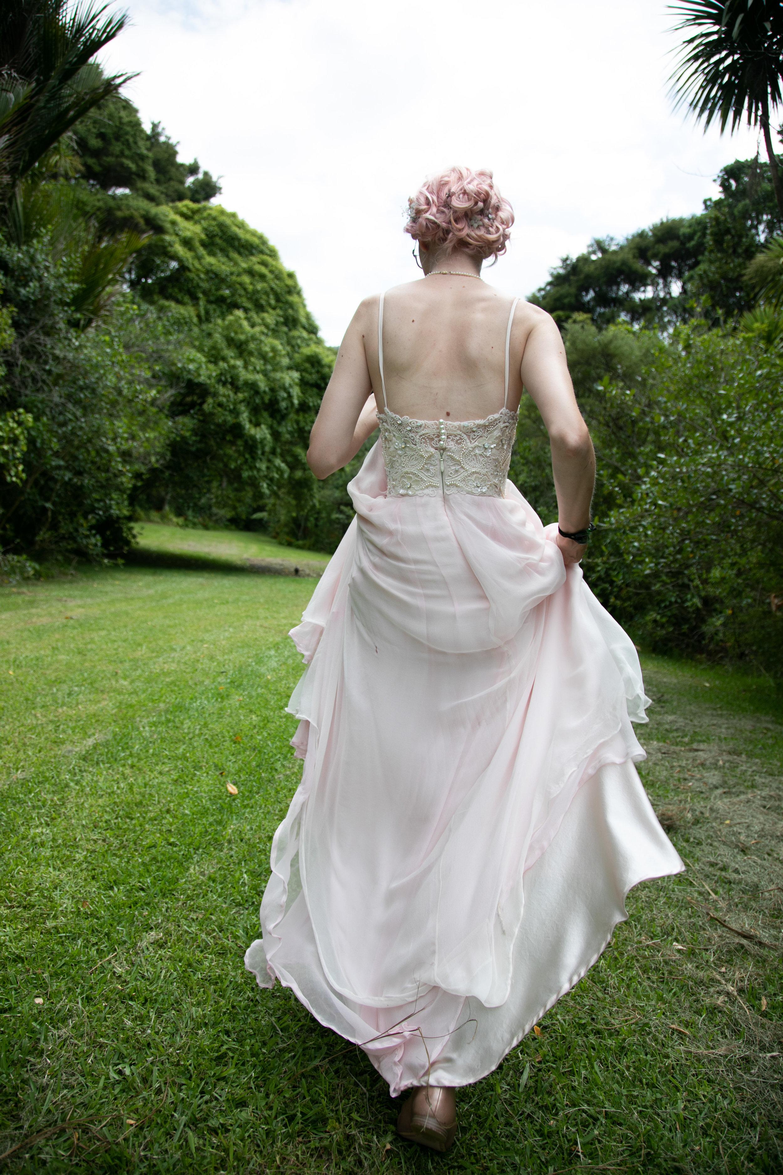 back of pink silk wedding dress hand sewn