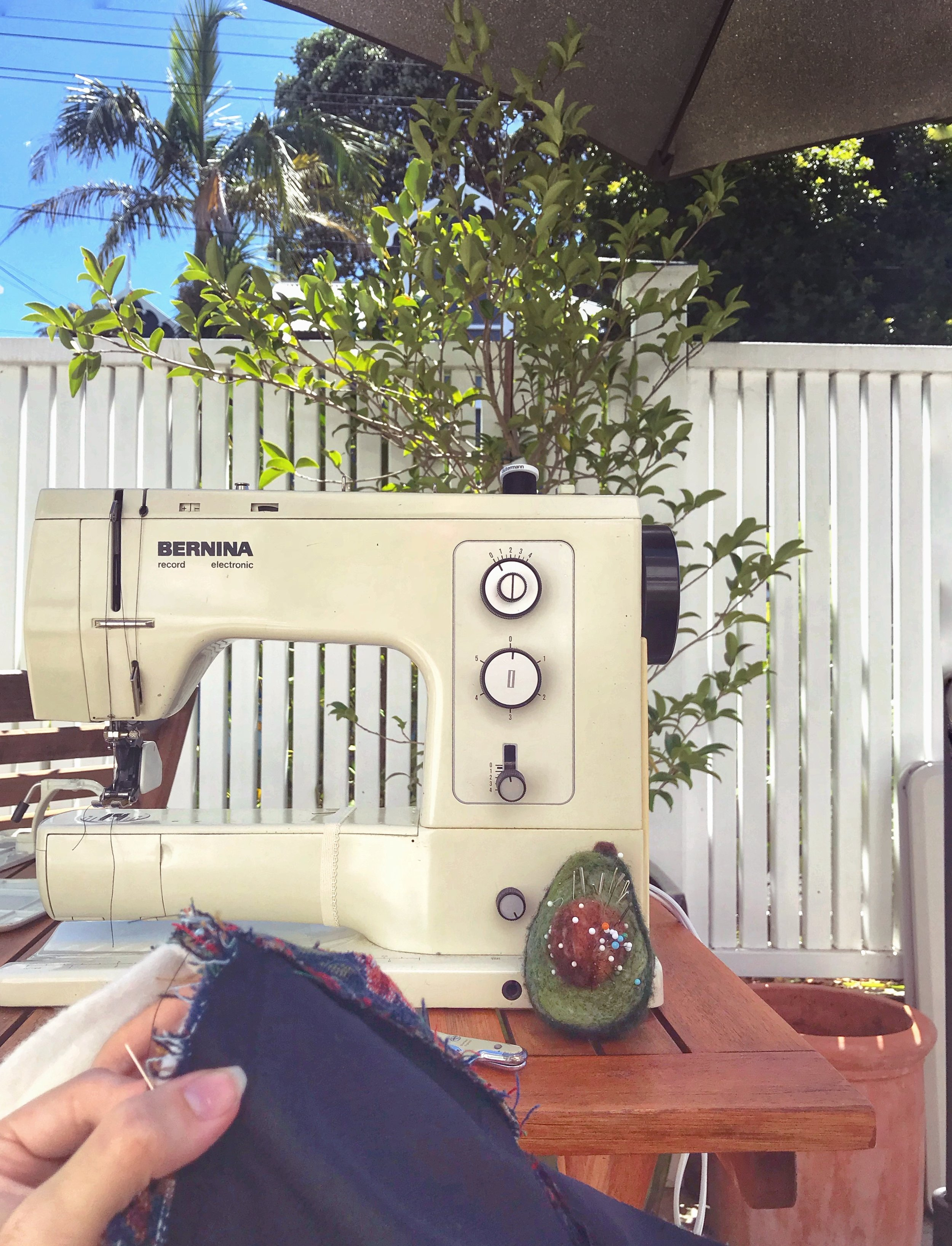 sewing outside