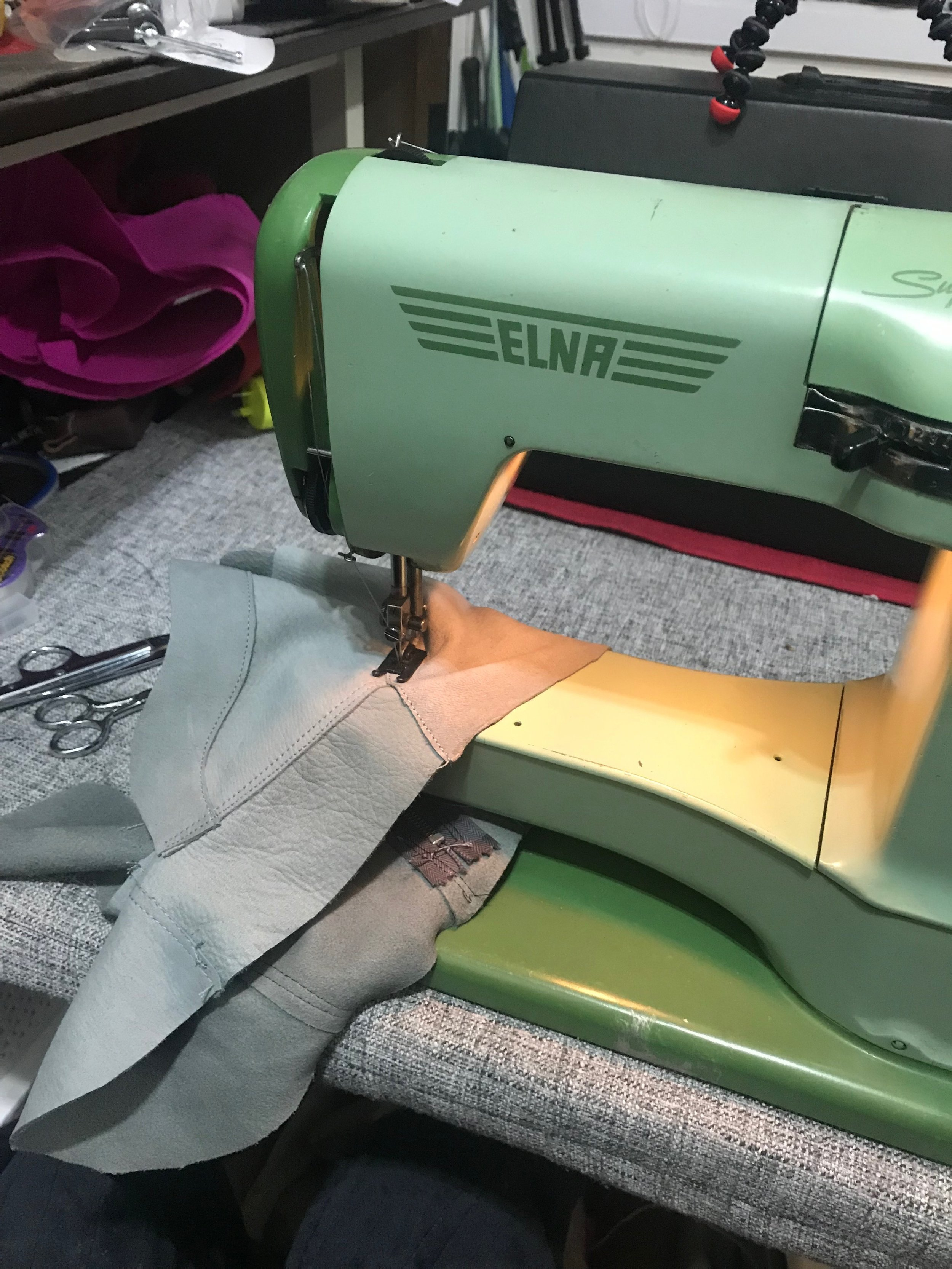 sewing leather shoes elna supermatic