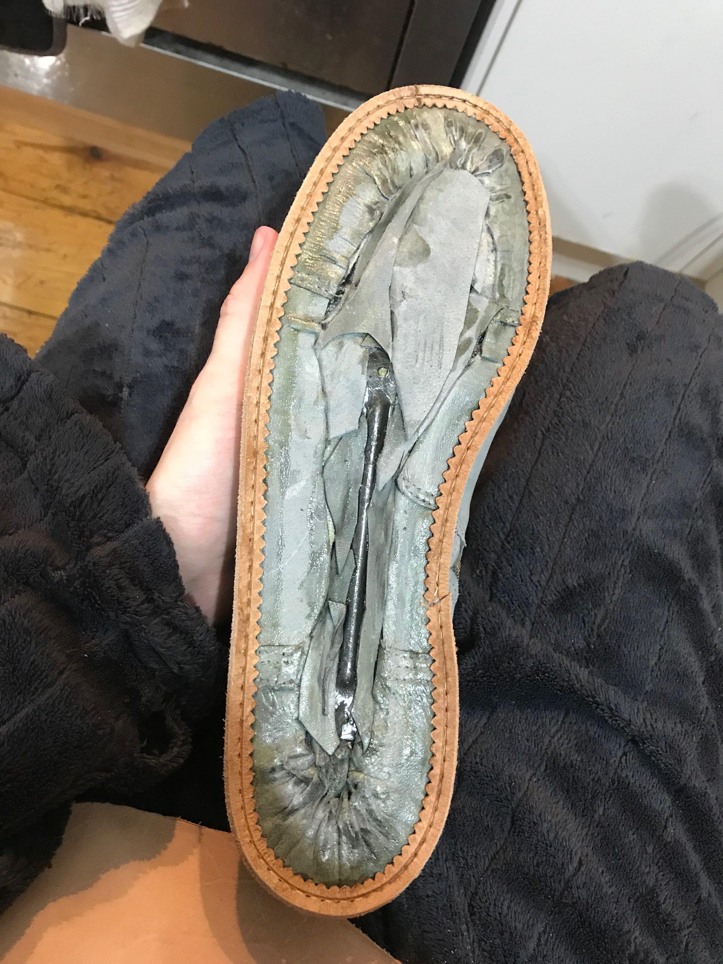 attaching rand to handmade shoe