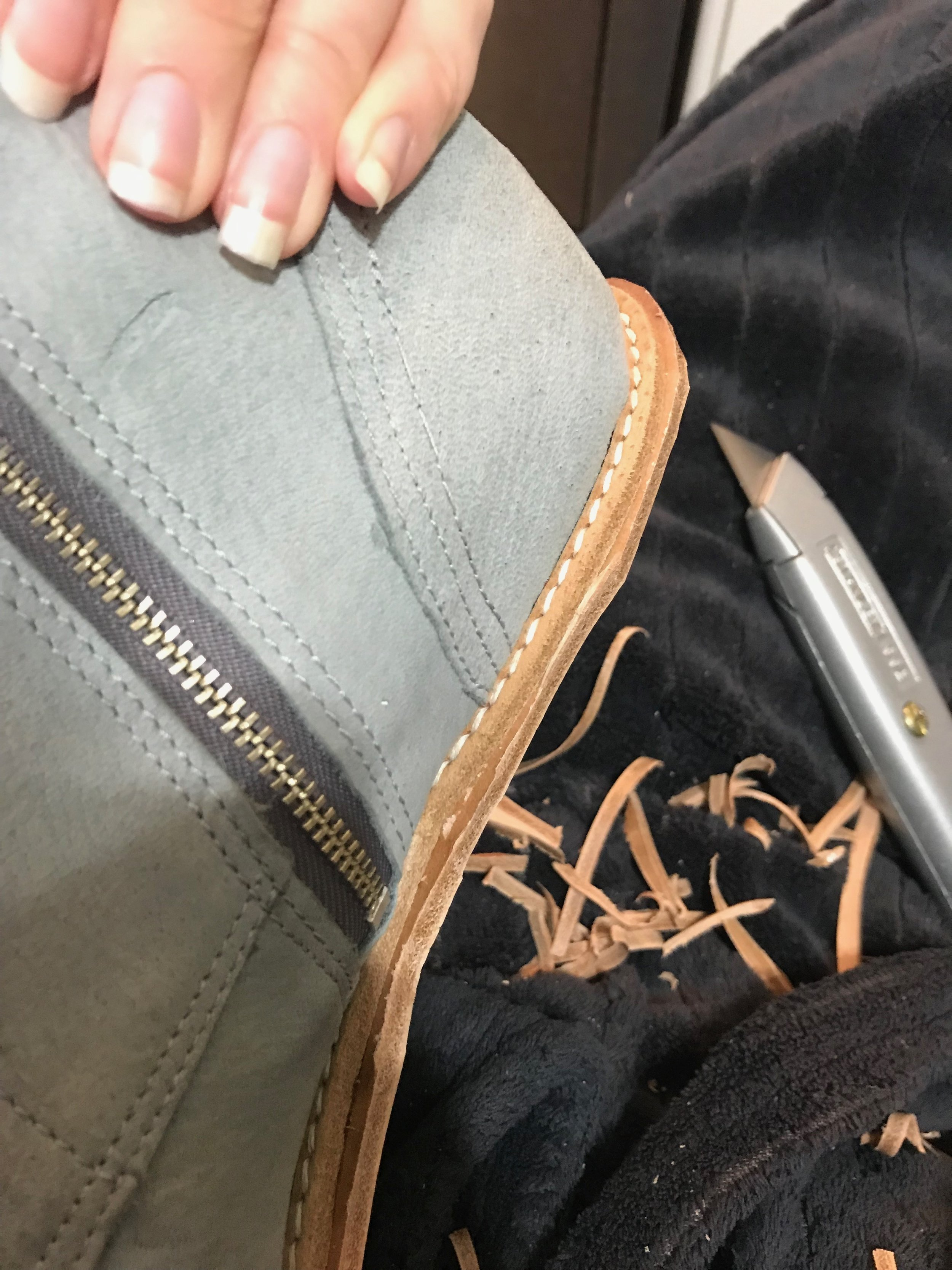 cutting off excess midsole