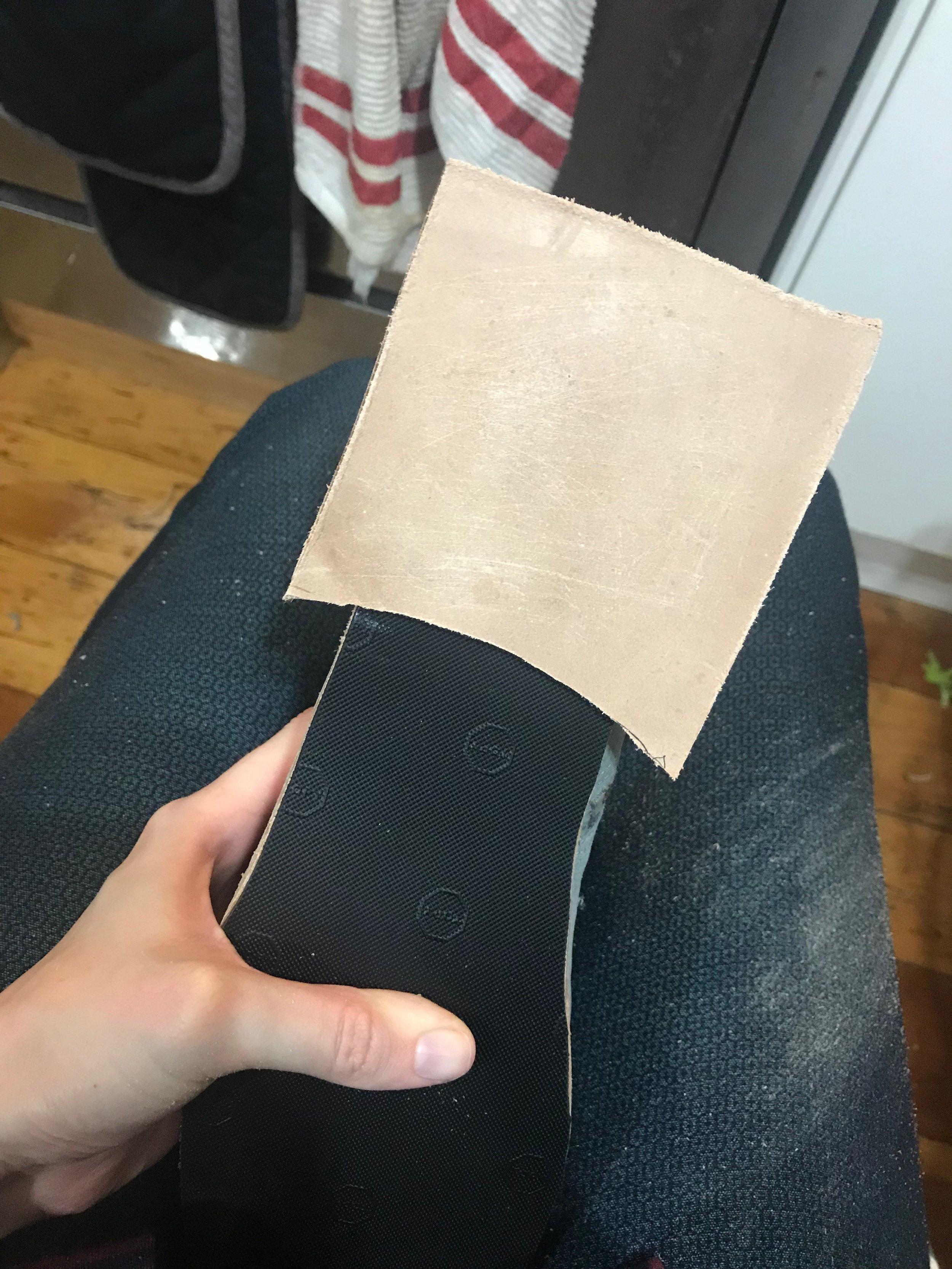 applying stacked leather heel