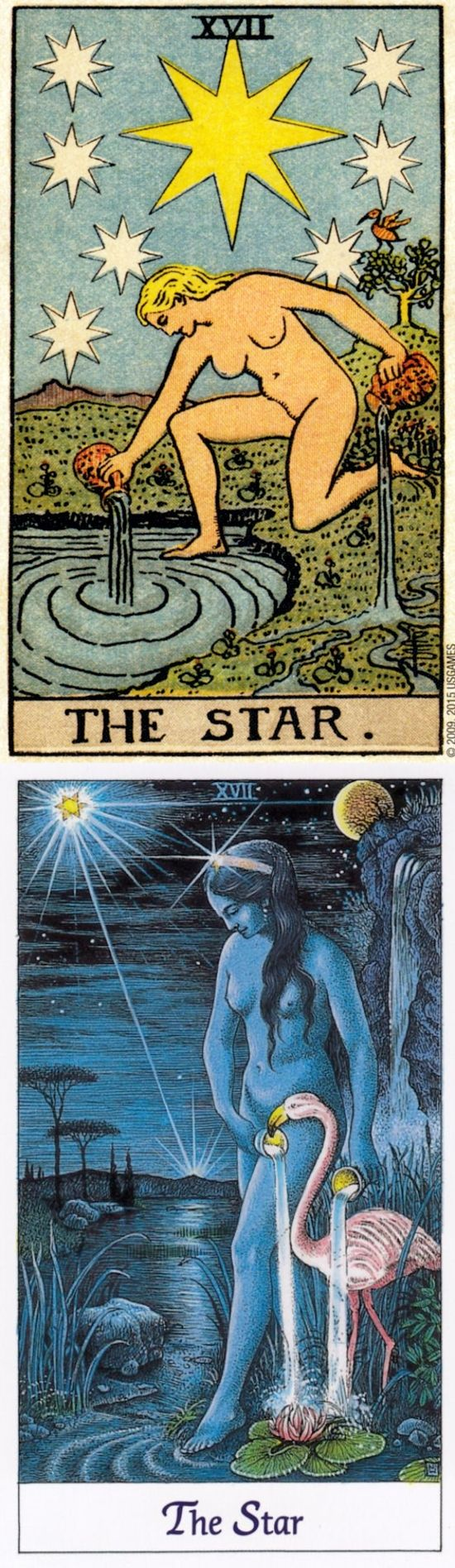 """Wish upon a star!"" The Star is the Tarot card associated with Aquarius. These cards are from the Rider Waite Deck and the Cosmic Tarot Deck. The Card as the Thumbnail of this Post is from the Starchild Tarot Deck."