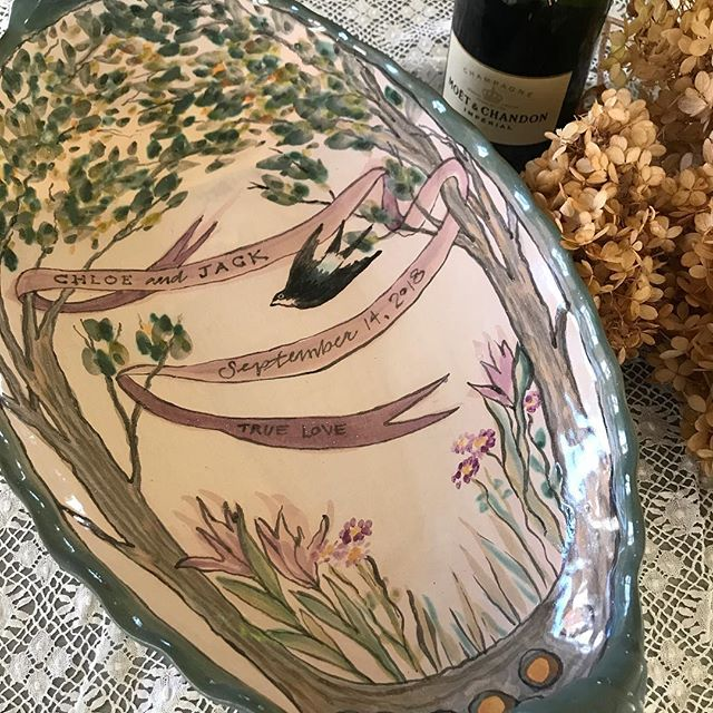 """wedding platter for Chloe and Jack. We make these 20""""x11""""  ovals entirely bespoke with specific dates, names, colors, flowers, themes for a wedding gift to pass down through the ages. contact figpottery@gmail.com. #weddinggift #bespokewedding #mywedding #weddingplanner #weddingregistry #handmadeweddingplatter ##handmadeservingpieces #terracottamajolica"""