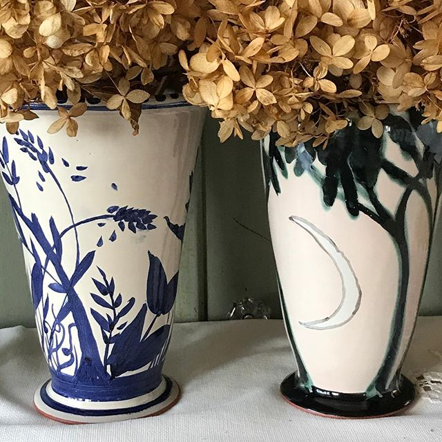 Two vases. #cobalt #copper #majolica #christmasgifts #handmadeofcourse