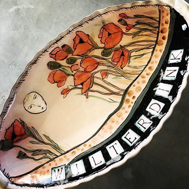 Big platter for the Wilterdink family. #weddingplatters #bespokewedding #family #familyplatter #themoon #poppies #terracotta #majolica #handbuiltpottery