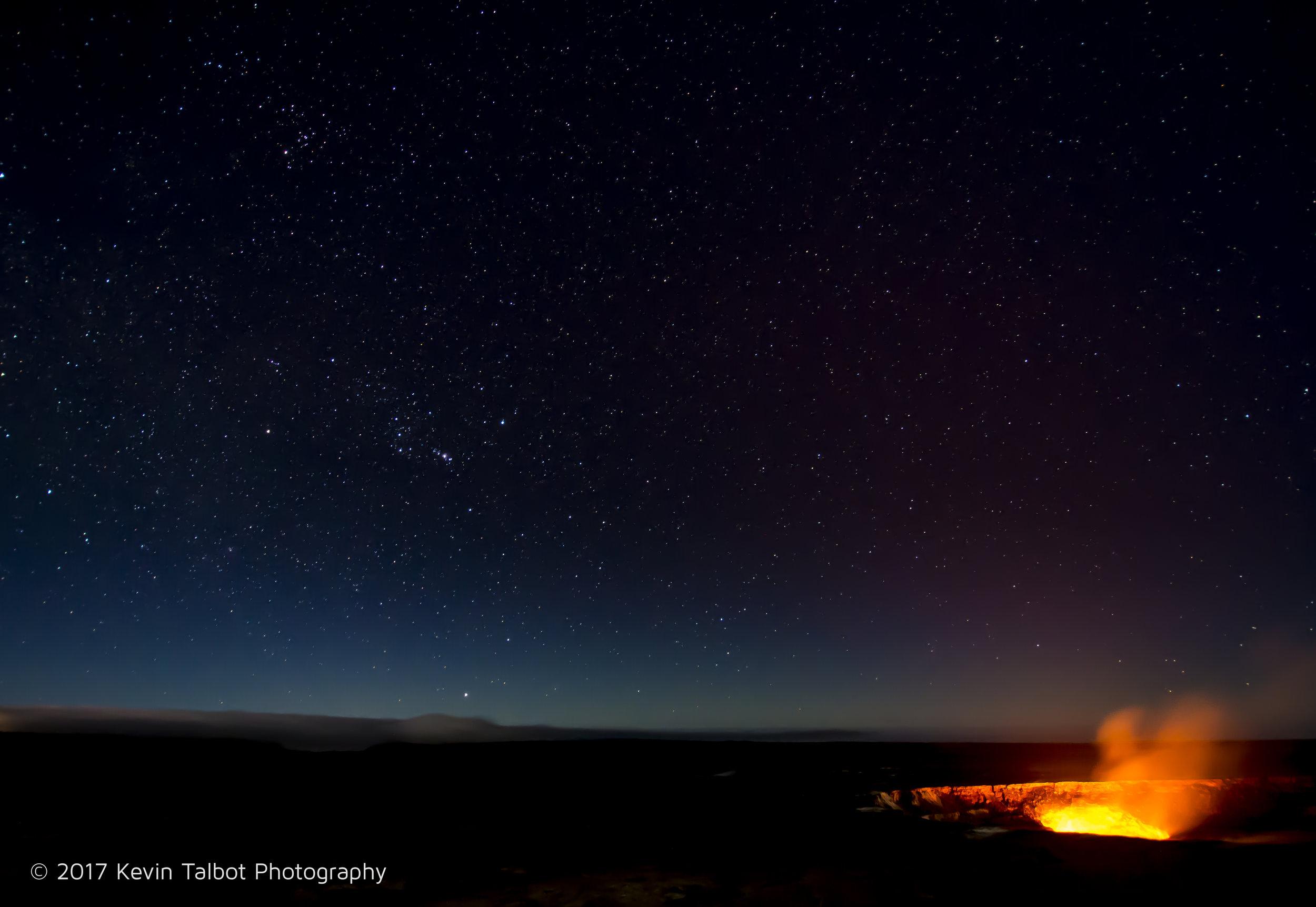 Kilauea caldera at night