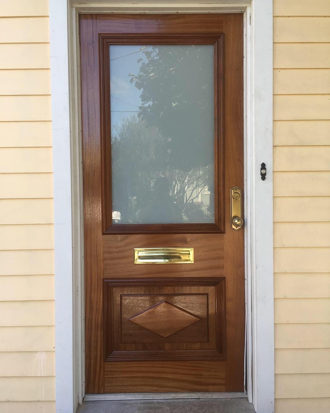 Sapele exterior doors to replicate the original design.