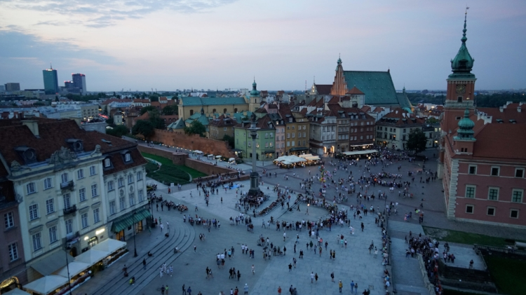 Old Town Warsaw Poland at dusk tower view