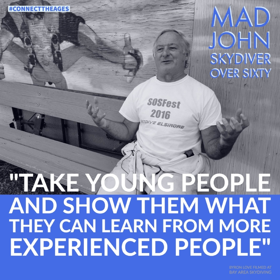 Mad John skydiver over sixty bay area skydiving