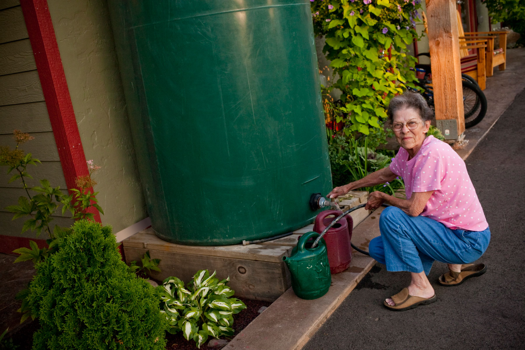 We water all of our beautiful plants and flowers with collected rainwater.