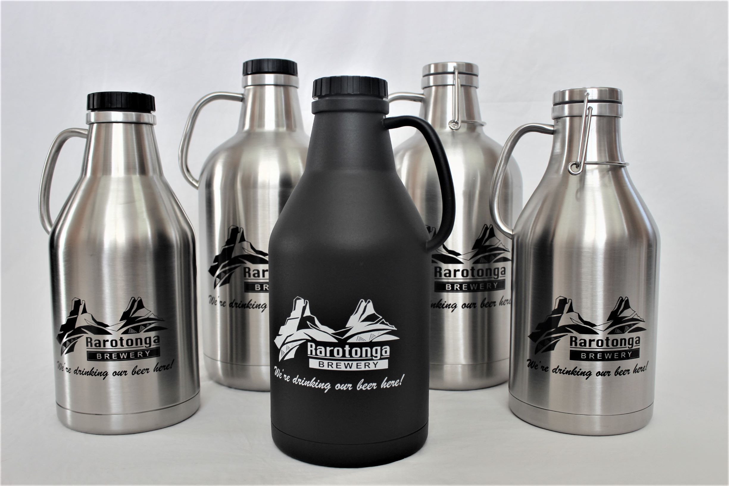 2 Litre Flagons   One of our most popular products! Enjoy your delicious Cook Islands Lager out of this thermo-insulated flagon that will keep your favourite beer colder for longer. Bring it back to the brewery for a refill for only $14!