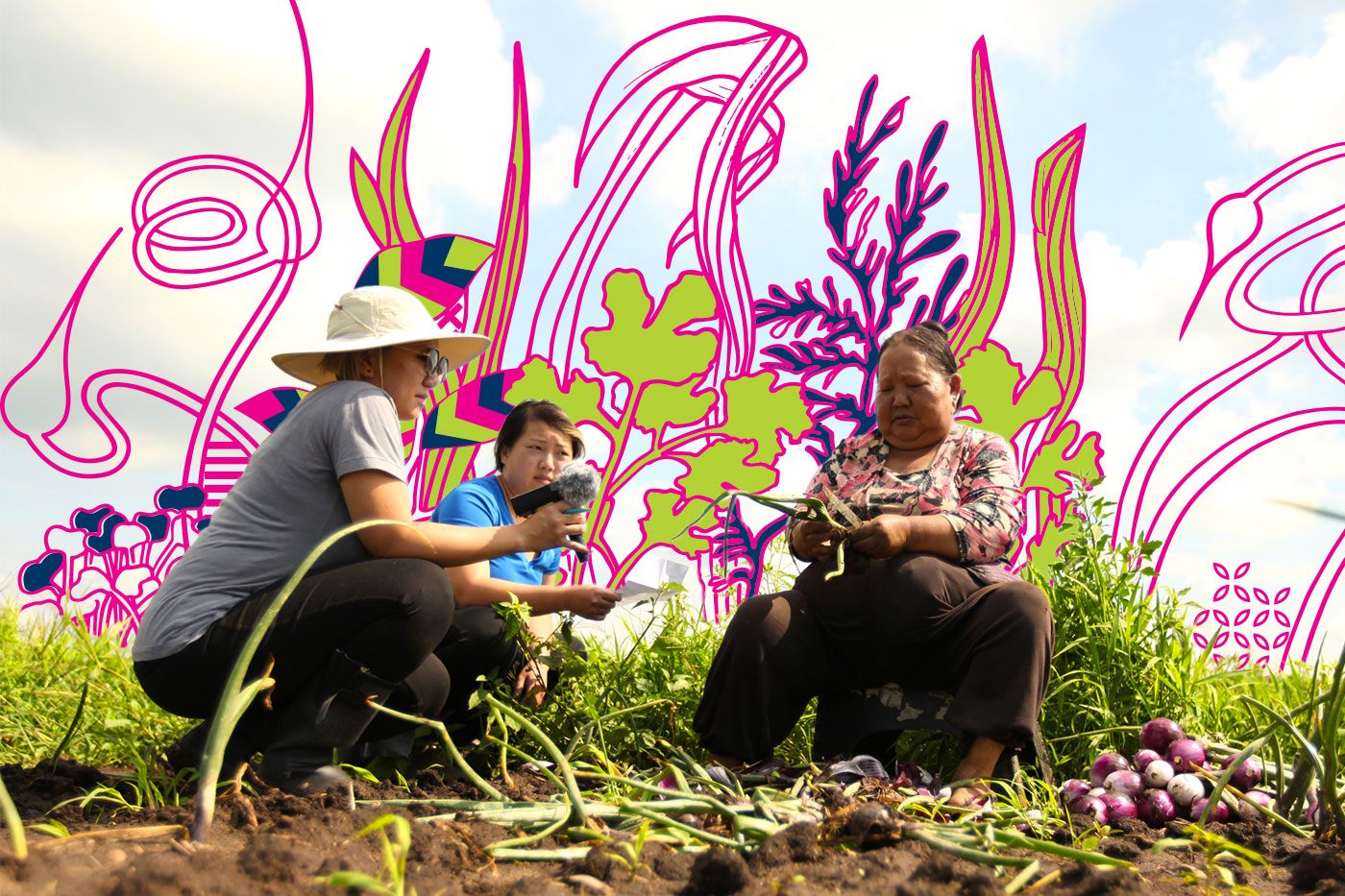 ArtCrop founder, Oskar, and HAFA staff, Yao, interview  Soua Thao , Hmong Farmer on her farm lot, to learn about her story over a summer-long residency held at the  Hmong American Farmers Association  (HAFA) farm. (2017)