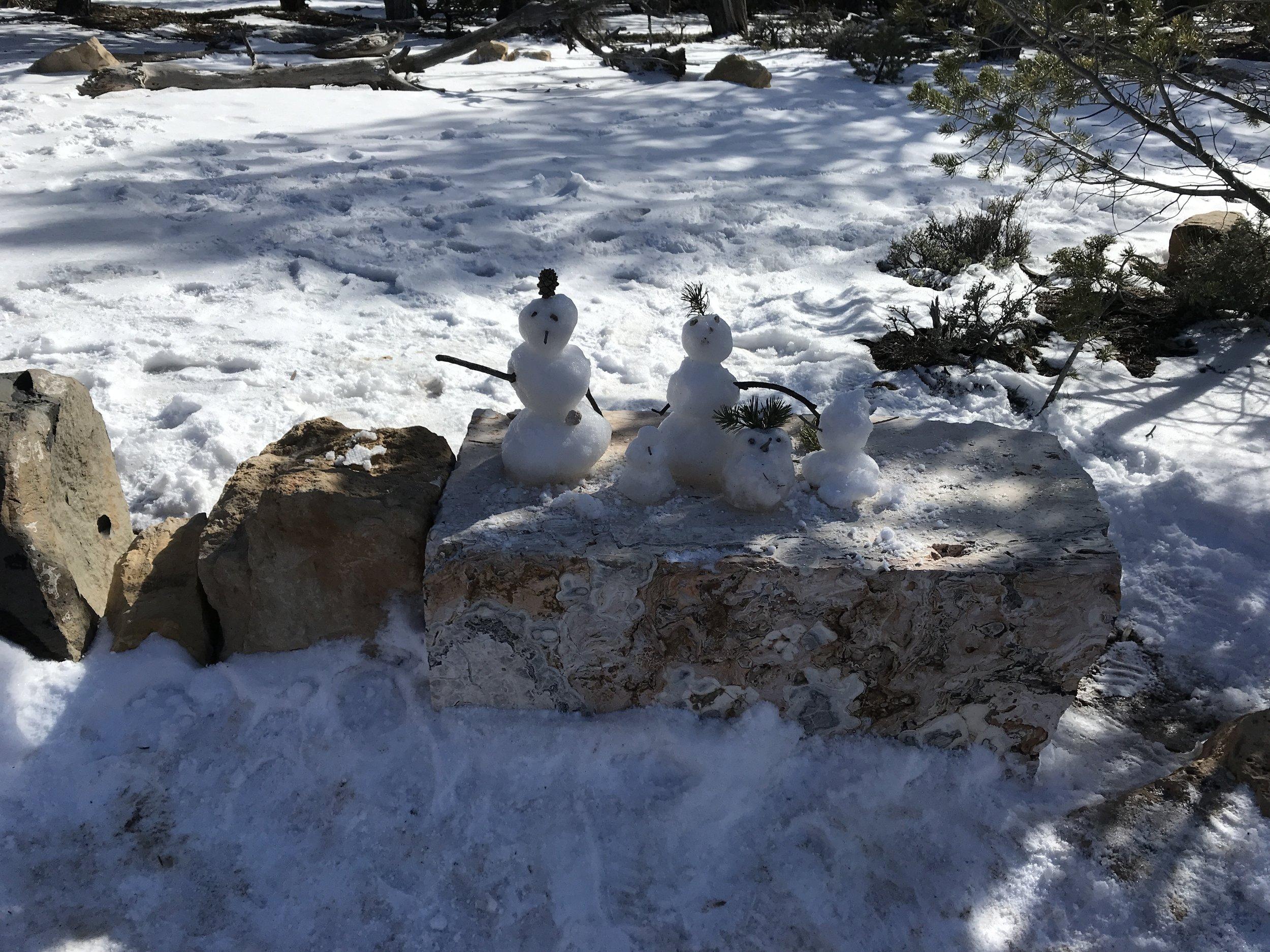 Someone made a snow family