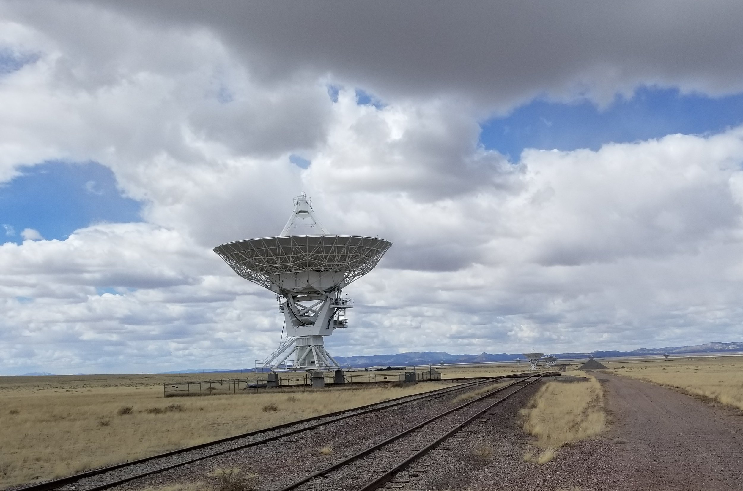 "Each one of the 27 dish antennas can be moved via transporters along 82 miles of railroad tracks. The VLA is ""Y"" shaped and has four different  configurations : A, B, C and D. These configurations change the distances between the antennas which changes the detail the VLA can see"