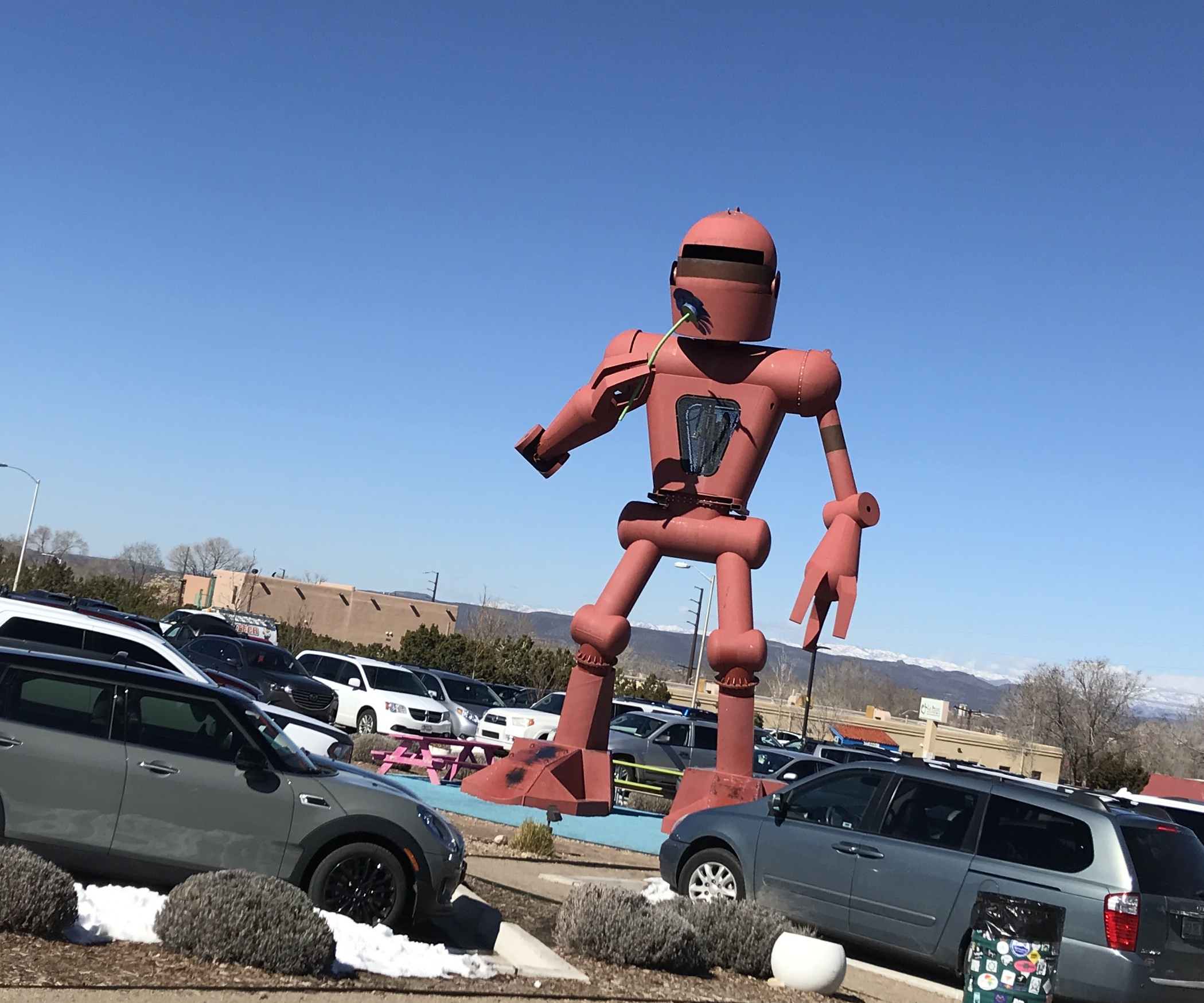 Some art outside in the parking lot