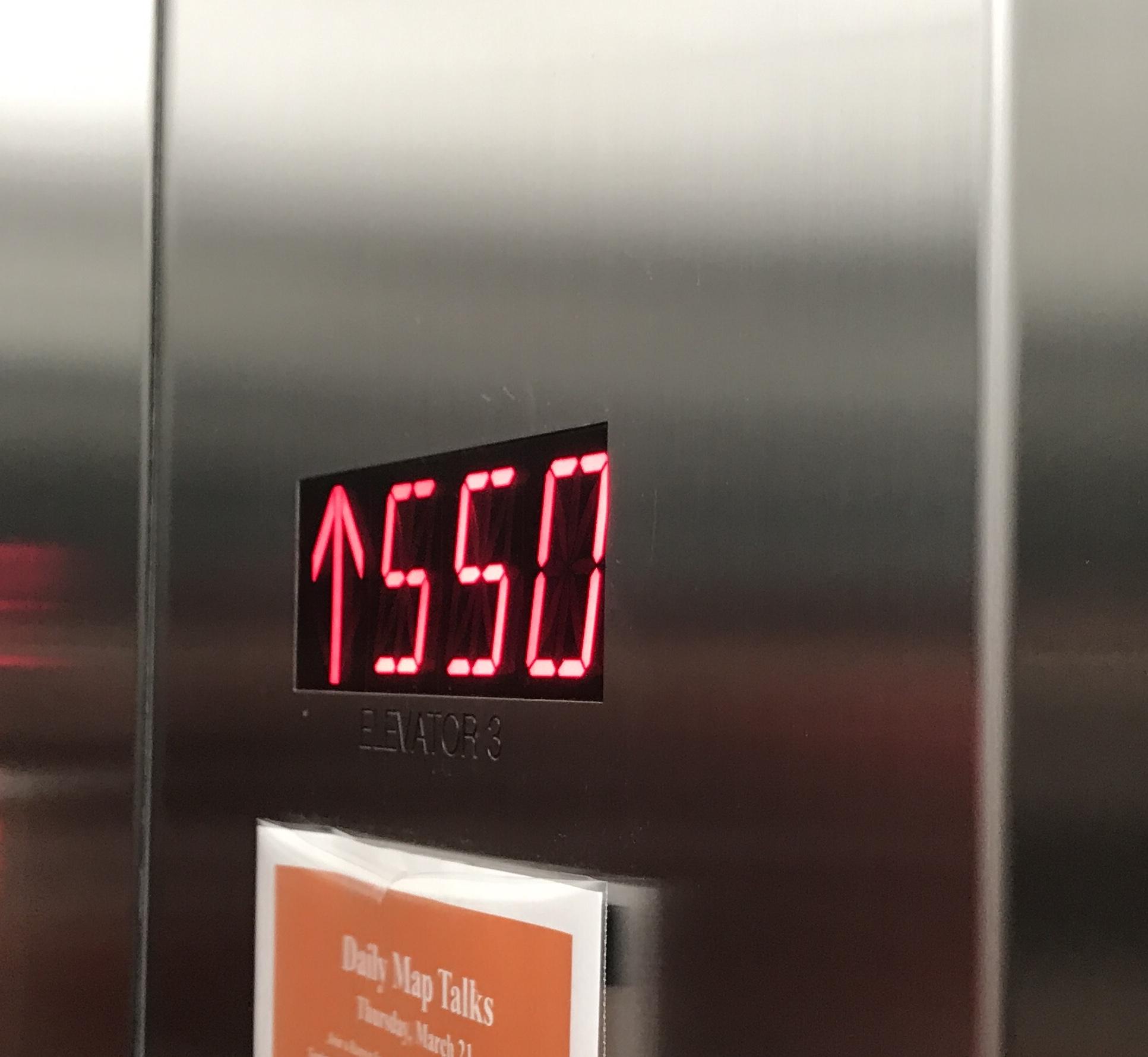 Elevator counts feet not floors