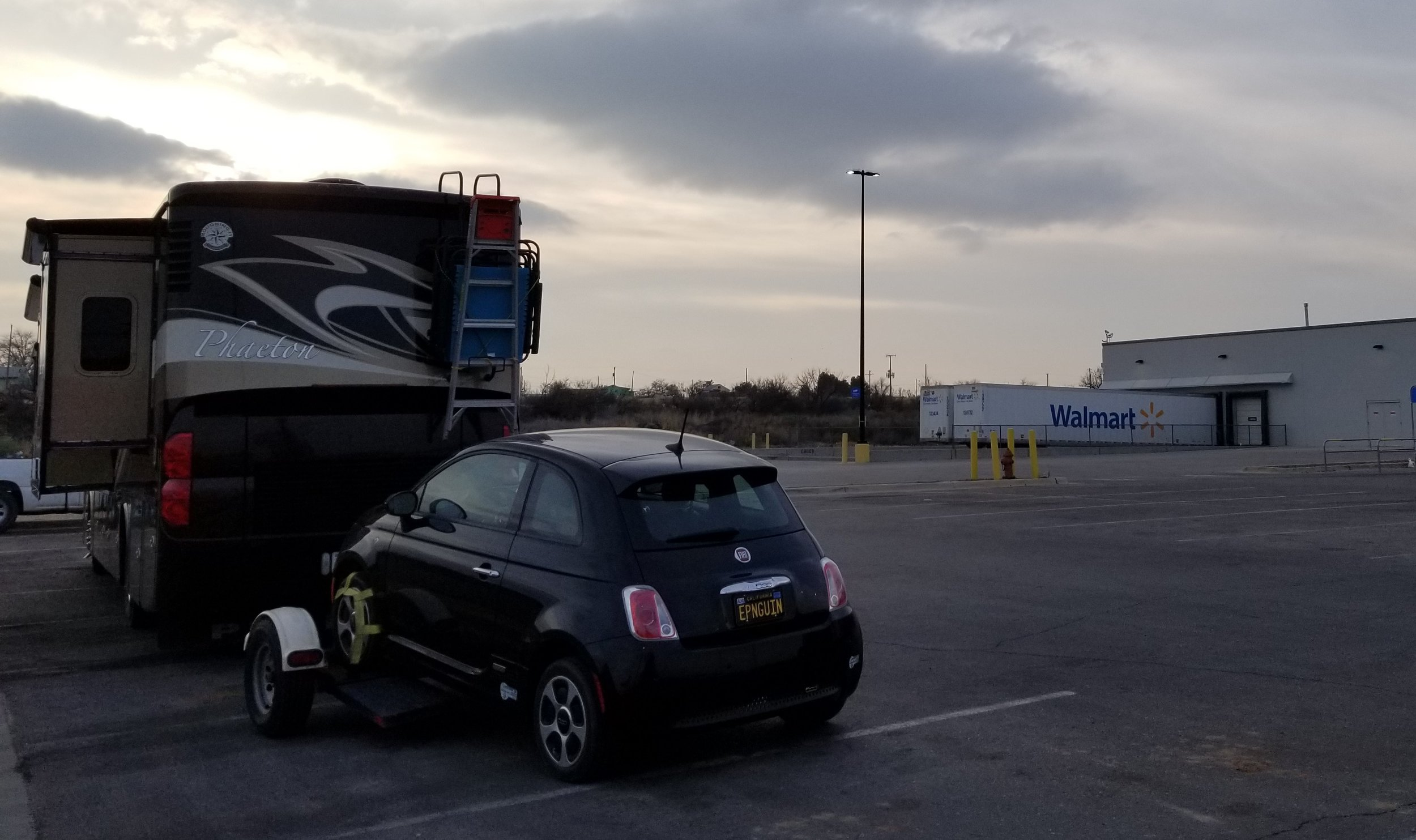 All of the RV parks we called were full so we spent two nights in the Walmart parking lot. We used the money we would have spent at the RV park to buy supplies at Walmart.