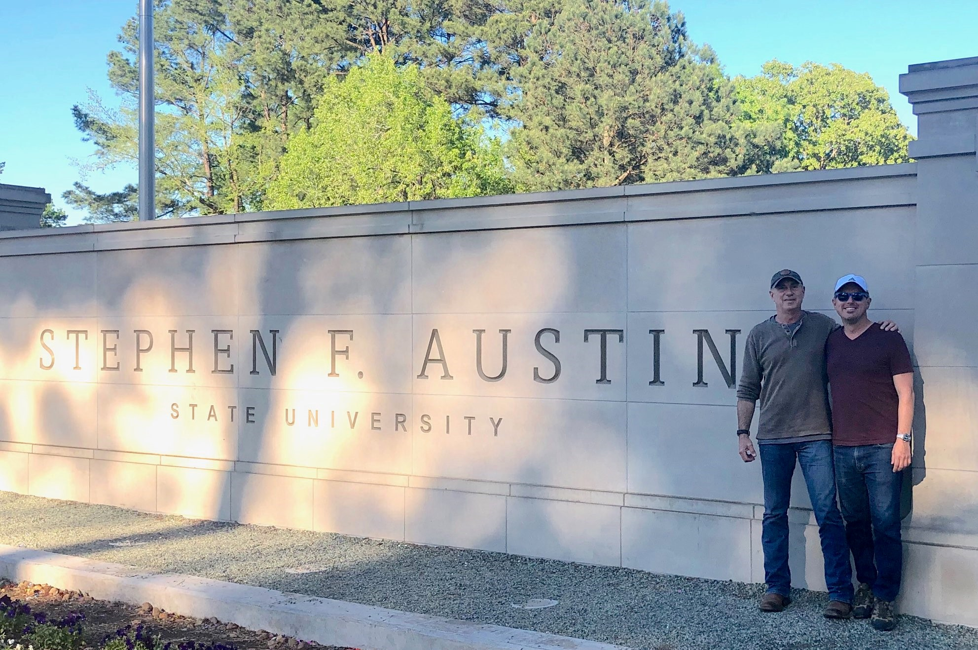 Me and my dad at Stephen F Austin University where he attended in Nacogdoches, TX.