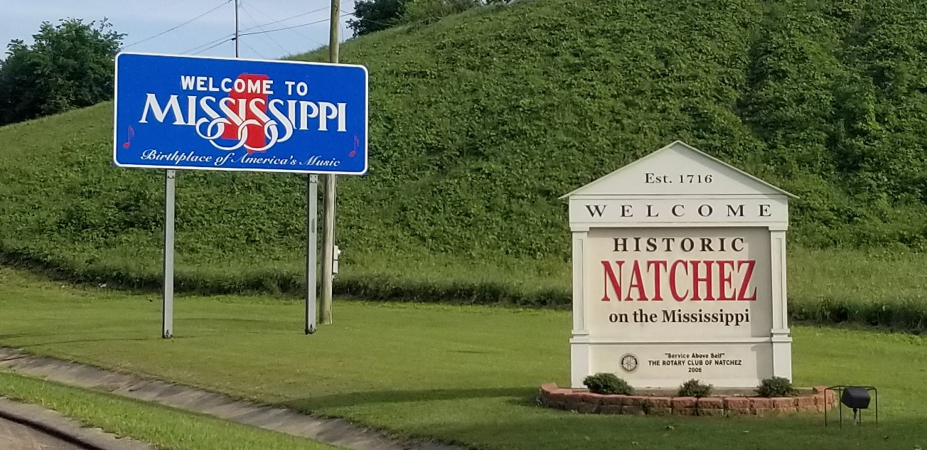 Welcome signs at Natchez, Mississippi